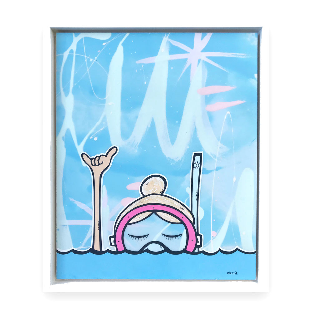 This Snorkel Girl was inspired by an existing original, but the piece had black hair and the snorkeler was not throwing a happy shaka up in the air. Simple additions and color changes can really personalize a piece.