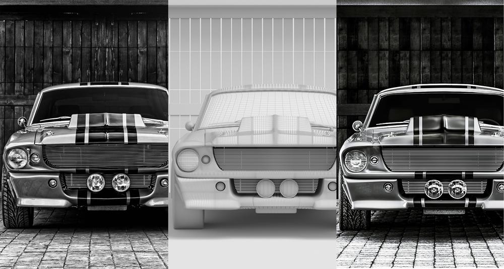 """Projekt """"Efterlikna ett foto"""". Originalfoto till vänster och 3D-modell till höger."""