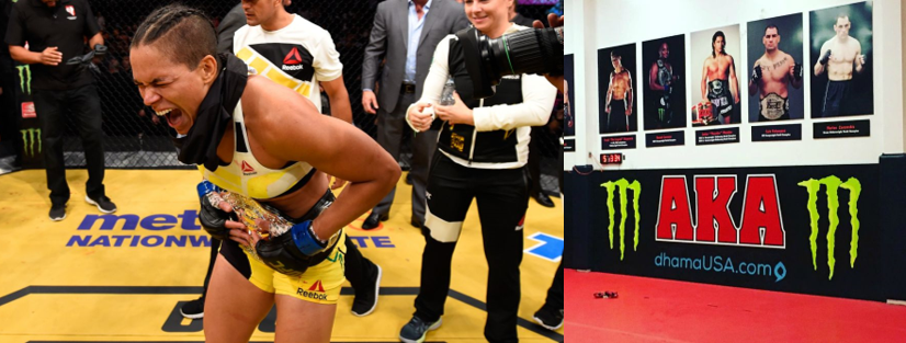 Amanda Nunes: the 3rd women's Bantamweight champion in two years (left)   Gym of champions: American Kickboxing Academy (right)