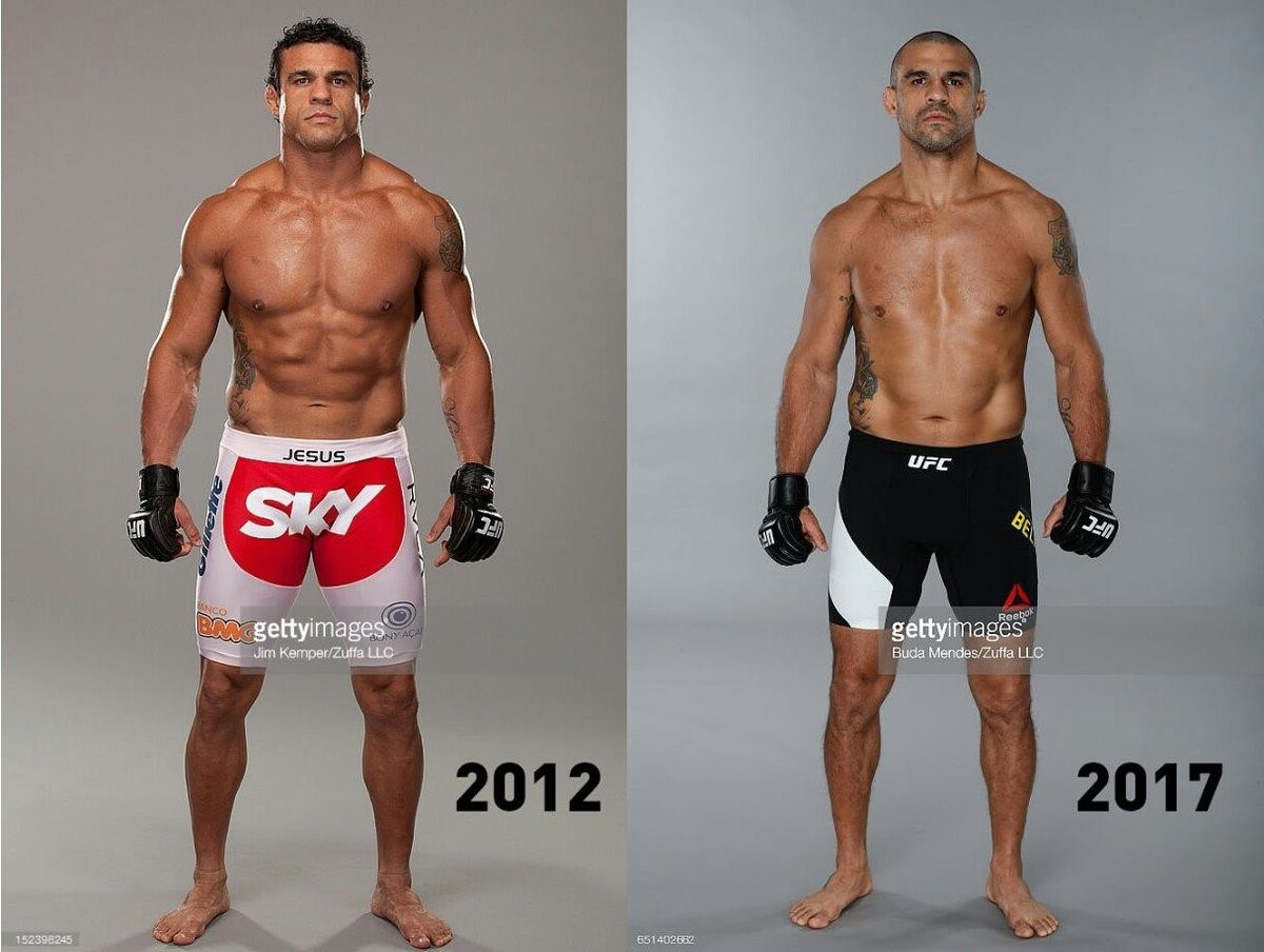 Vitor Belfort:   Before (2012) and after ban (2017) - Getty Images