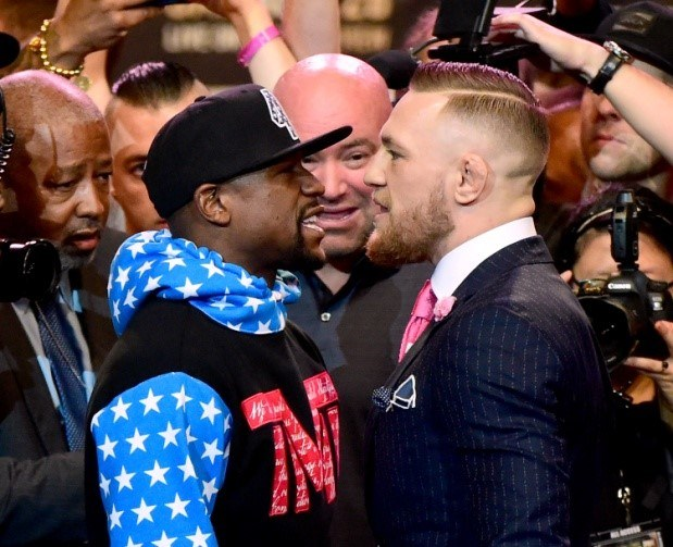 The A side?    Mayweather and McGregor square off for the first time