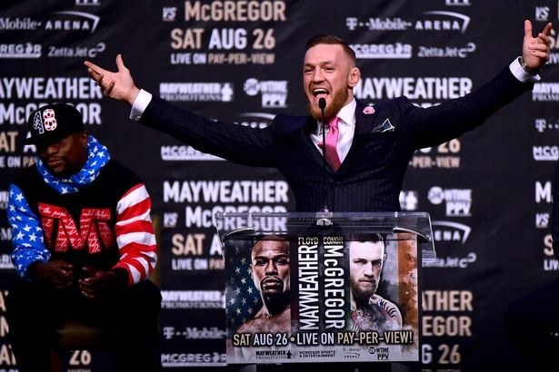 The showman    – McGregor in his element during a press tour