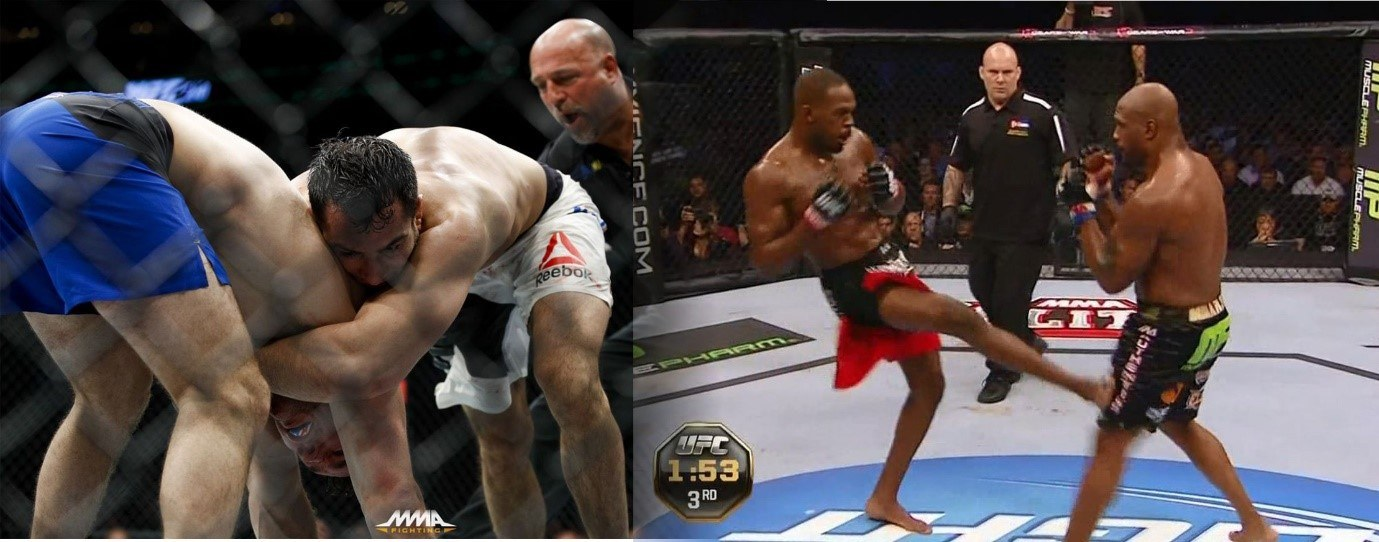 Chris Weidman about to eat a knee (left) and Jon Jones aiming a kick at Quinton Jackson's knee