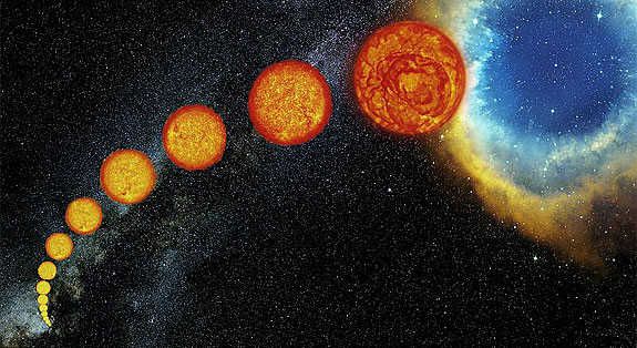 An artist's depiction of the life stages of our Sun, from birth to death as a white dwarf within a planetary nebula. Image credit:  ESO /S. Steinhöfel.