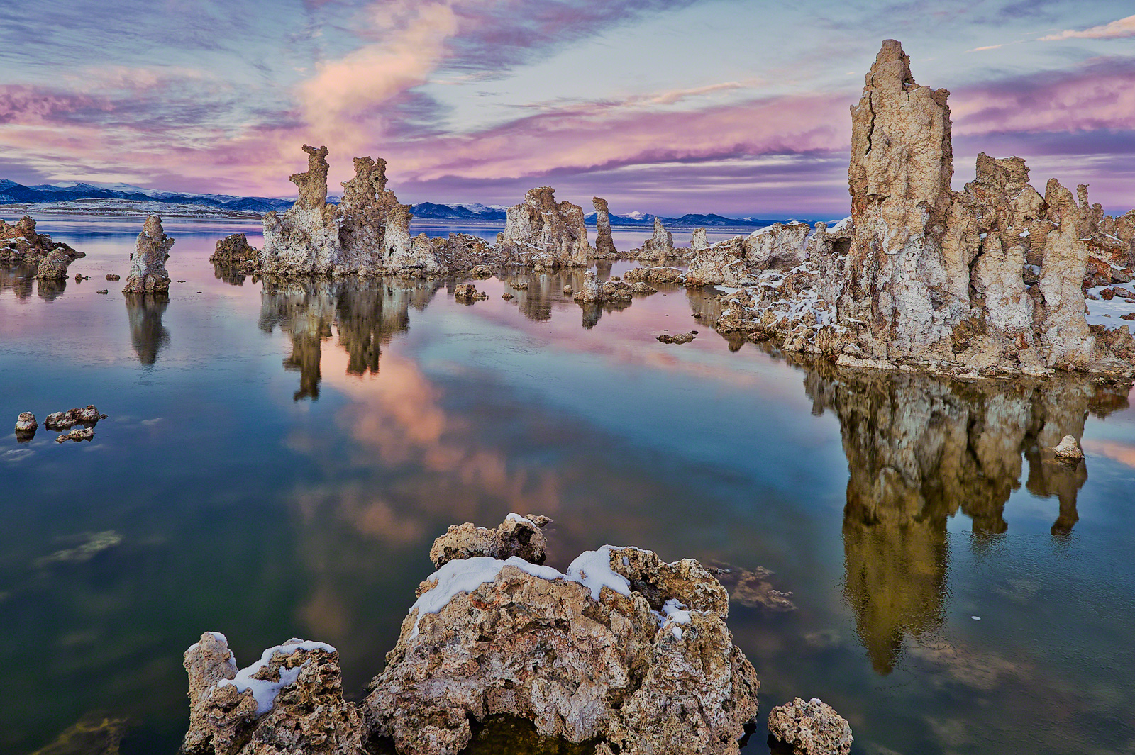 Tufa towers emerging from the extremely saline waters of Mono Lake, California, where the first ever microorganism capable of feeding off toxic arsenic was discovered. Image credit:  Seth Hancock .