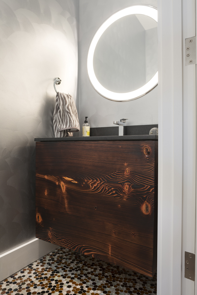 Charred Pine Vanity   Reclaimed pine wall hanging vanity with flame charred finish.