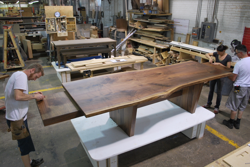 Bookmatched Walnut Extension Table   Live edge solid black walnut extension table with book-matched top.