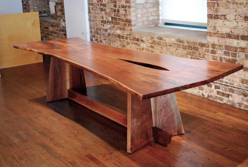 Flat Walnut Stab Table   Solid walnut table made from 6 small slabs, oil finish.