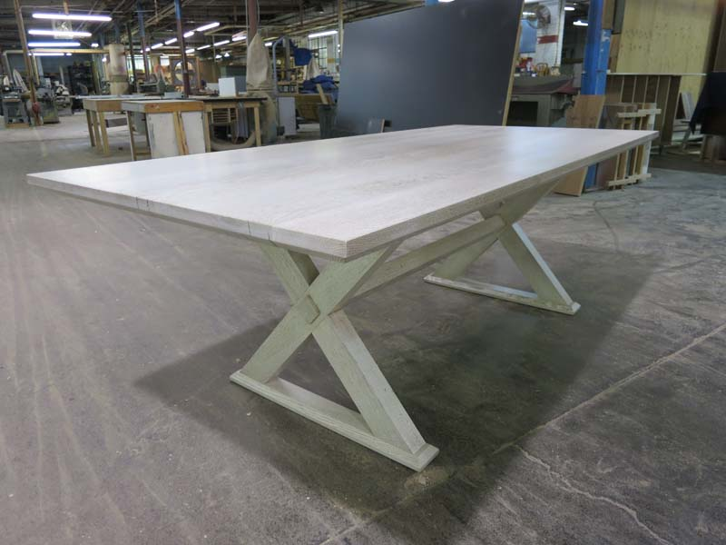 Diamond Trestle Table   Reclaimed white oak dining table with bleached, white washed and cerused finish.