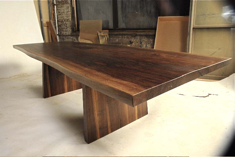 L20 Stab Table   Walnut slab dining table with dull lacquer finish.