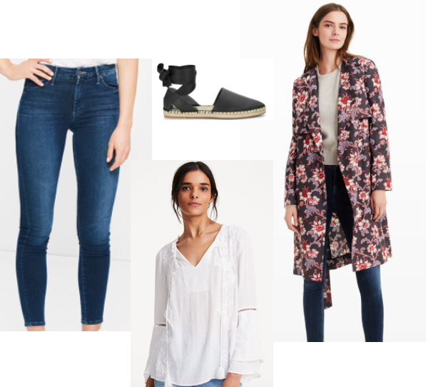 Club Monaco Emmerly Trench Coat ,  Club Monaco Fredrikah Top ,  Mother High Waisted Jeans ,  Rebecca Minkoff Espadrilles