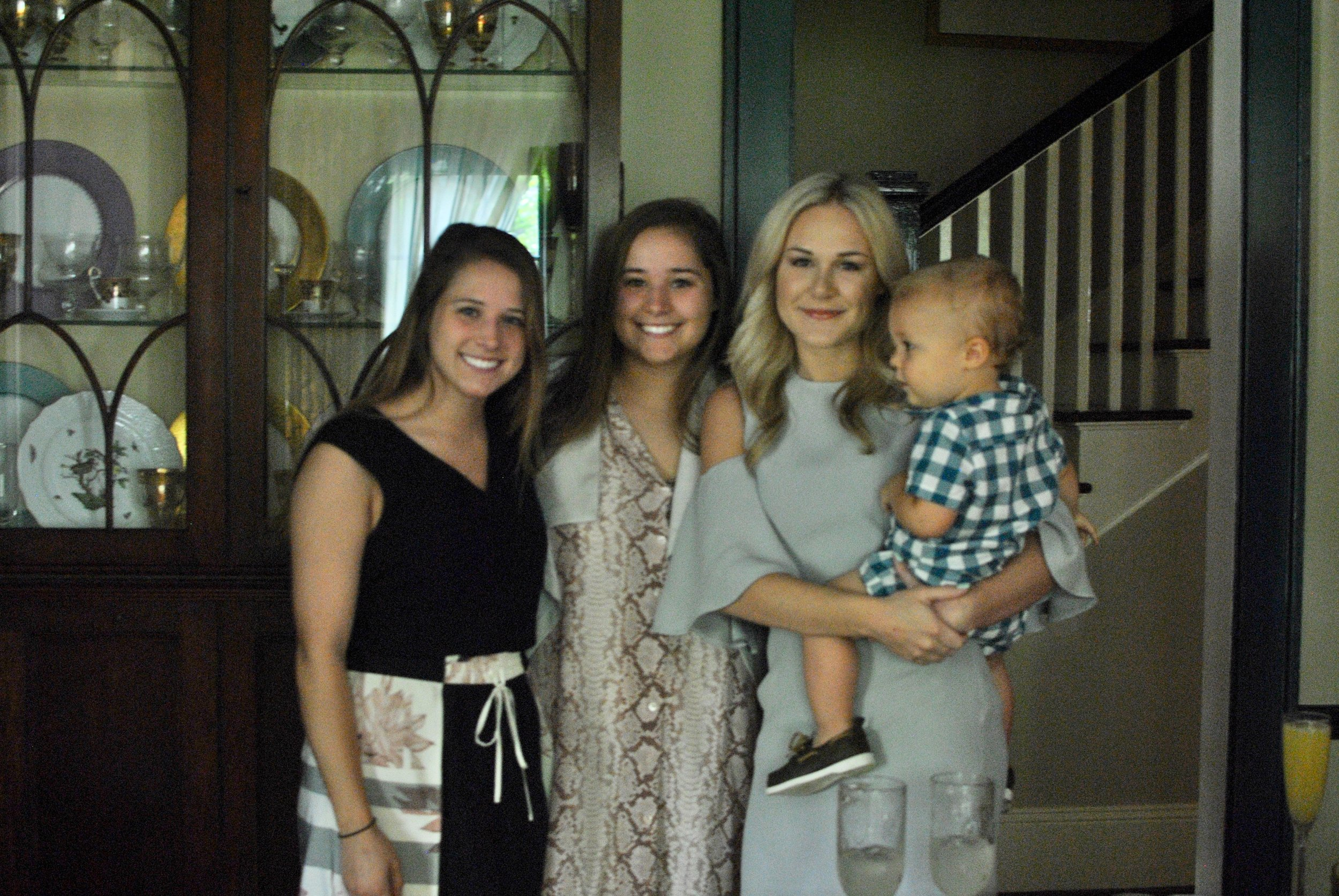 Sarah with longtime friends, Emma and Sarah McQueen and Hudson.