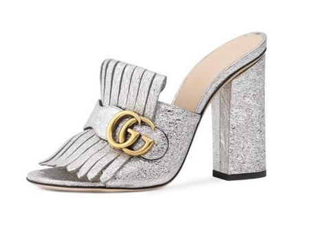 Gucci Silver Marmont Mules