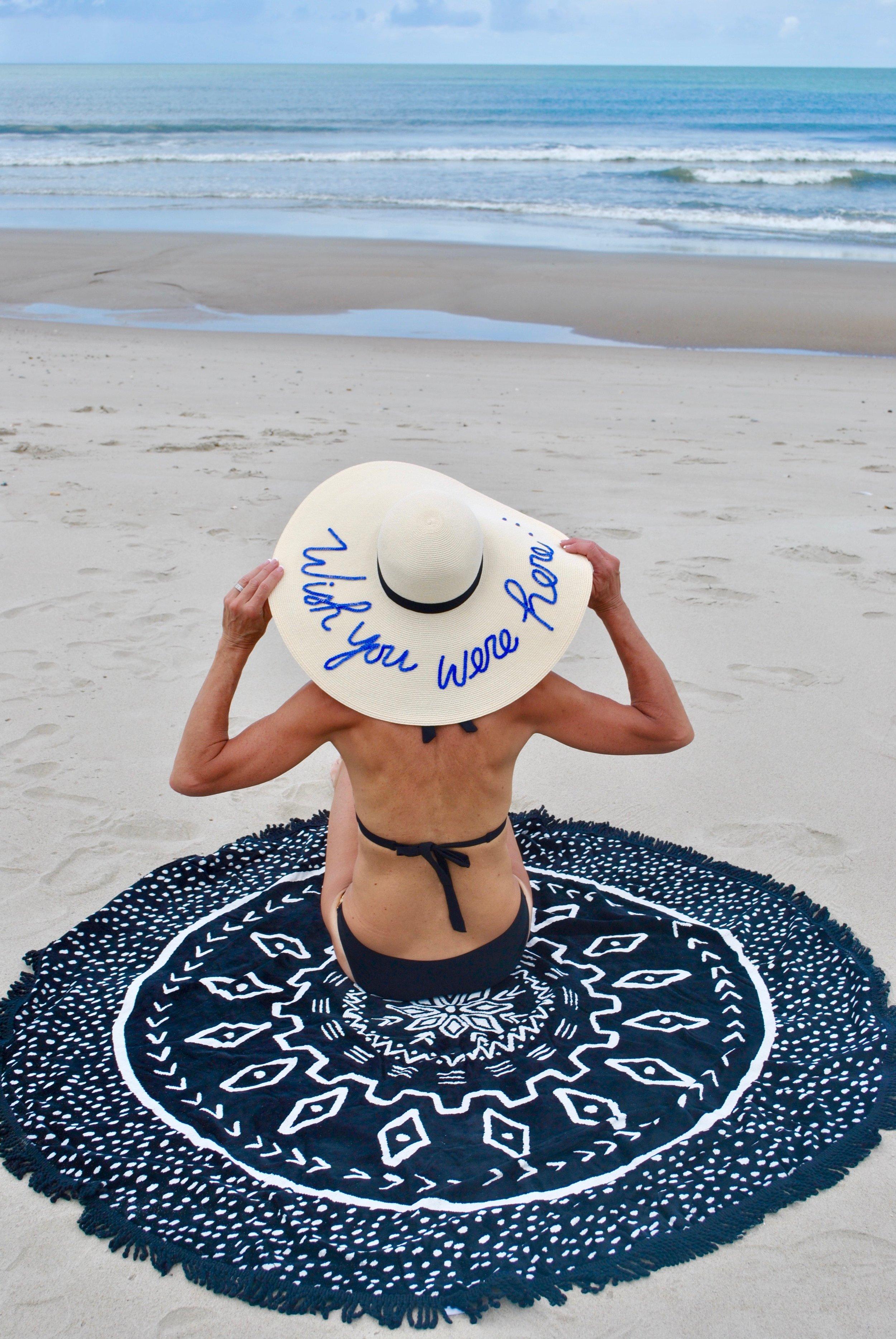 Sun hat and beach towel