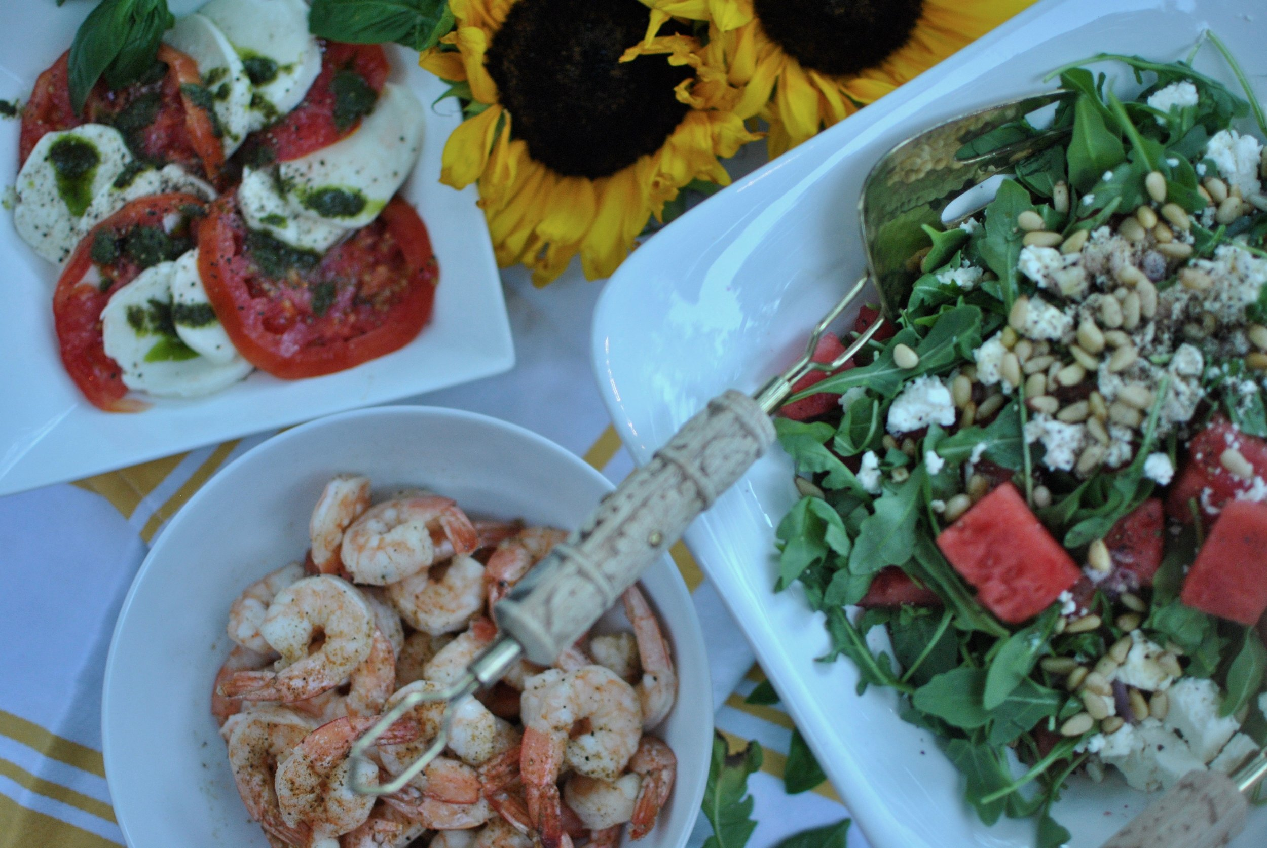 dinner idea - watermelon salad, capresé salad and roasted shrimp
