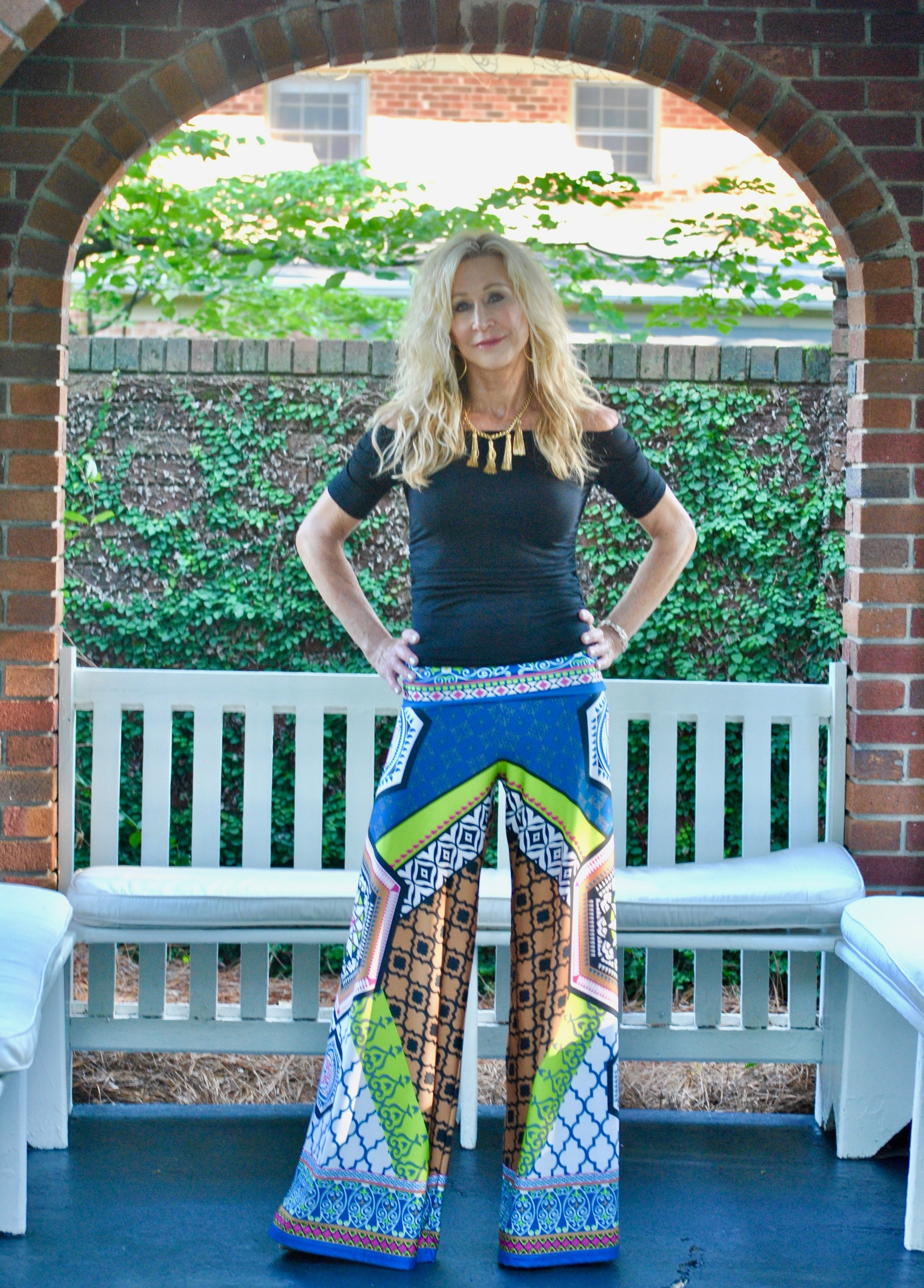 Late Summer Outfit - Palazzo Pants with Off-the-Shoulder top