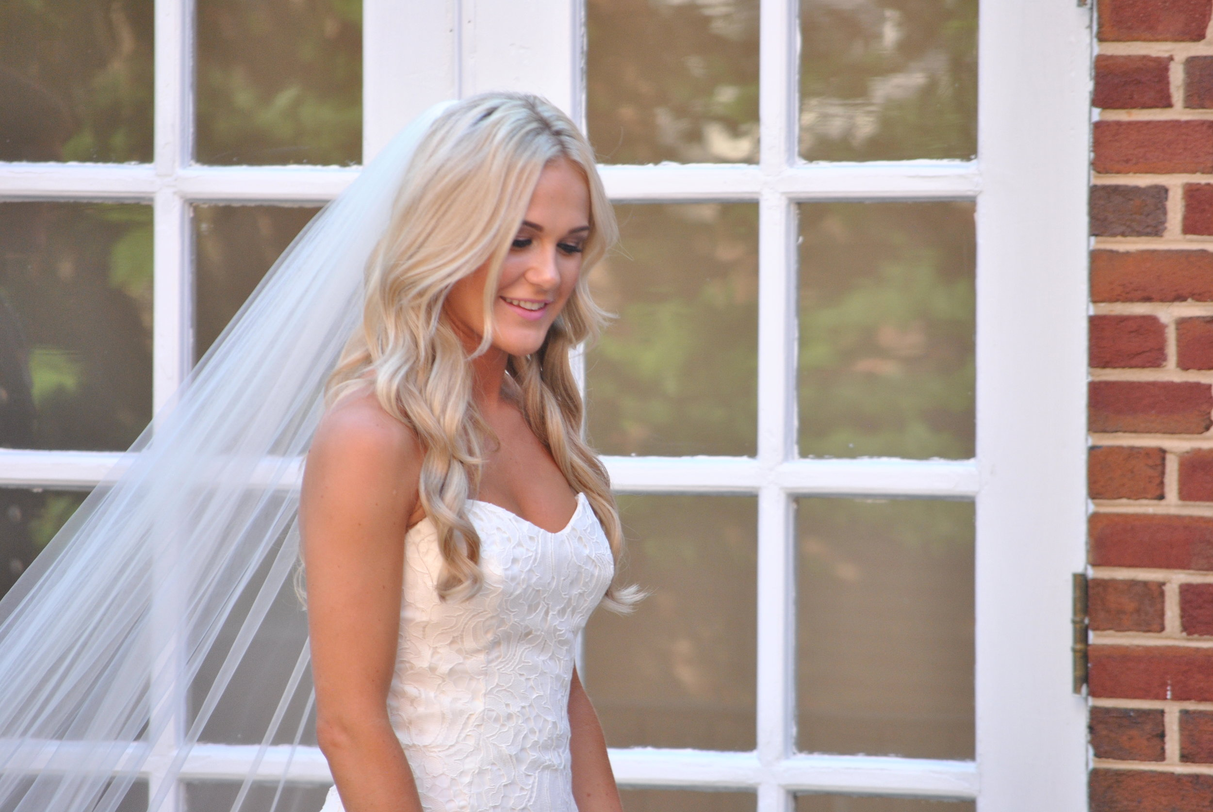 Sarah in her wedding dress