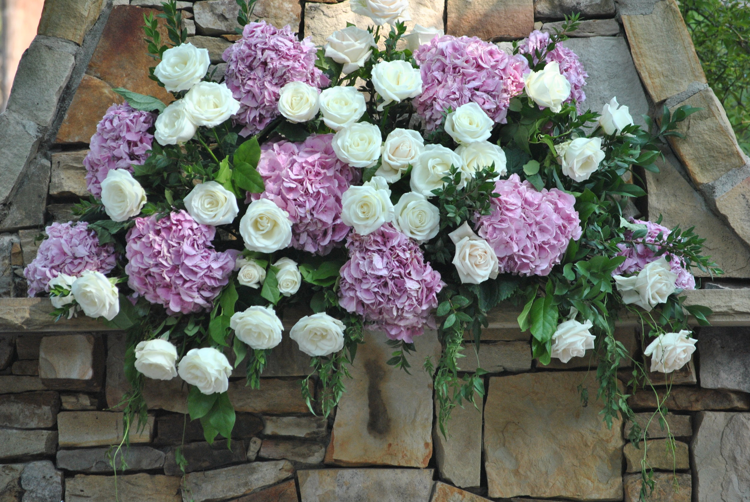 Outdoor Mantle Decorated for Wedding