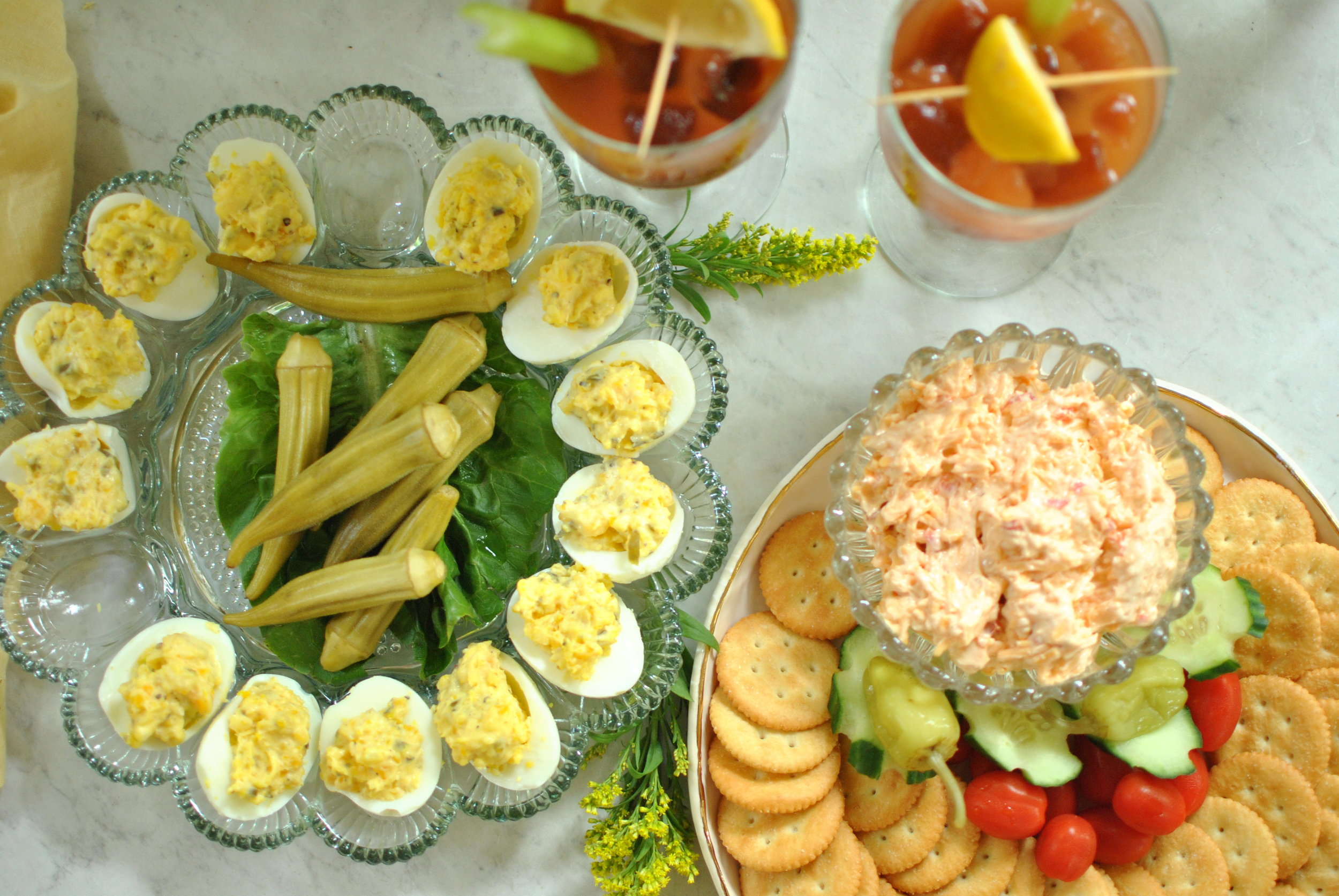 Deviled eggs and homemade pimento cheese