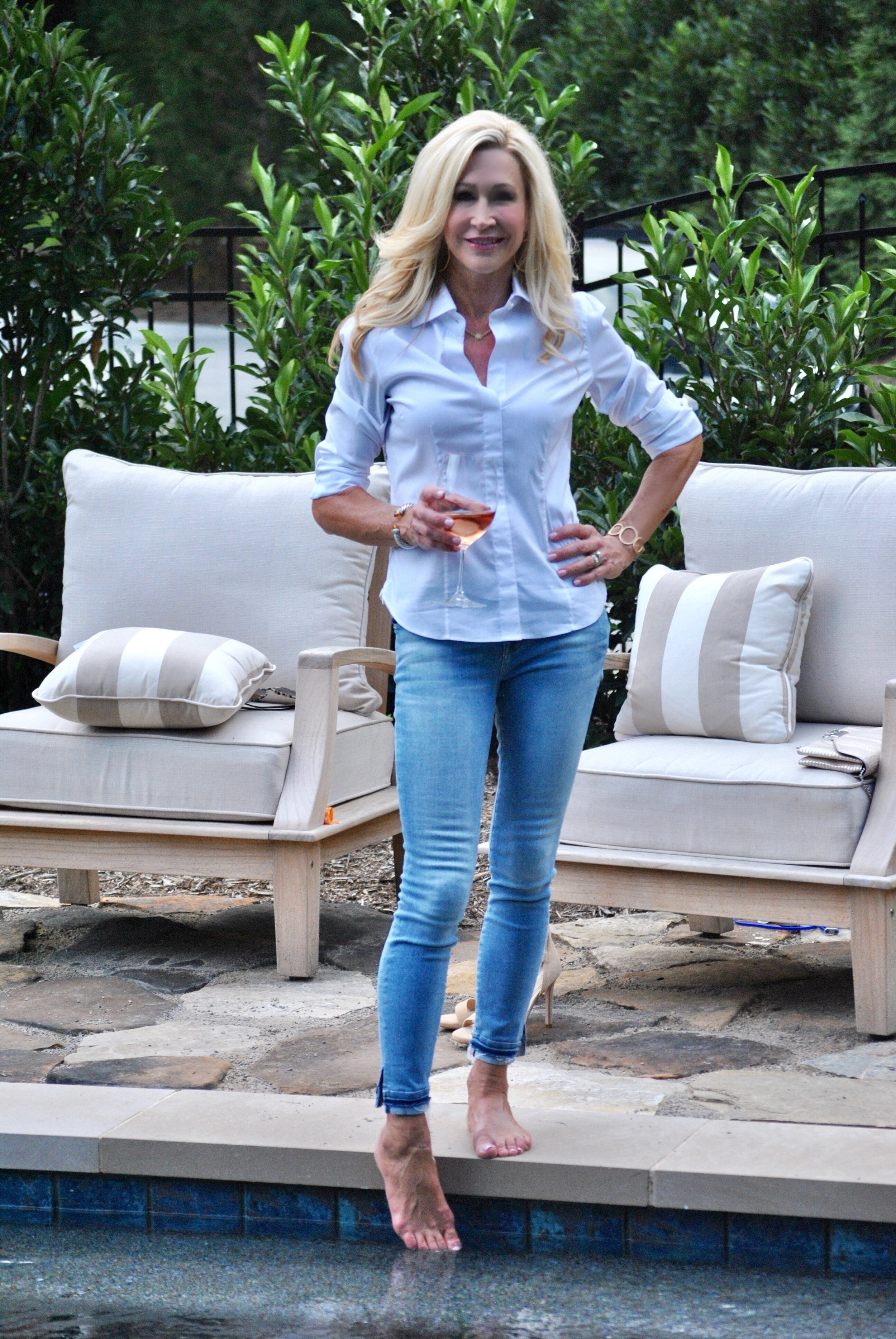 Basic White Blouse with Jeans