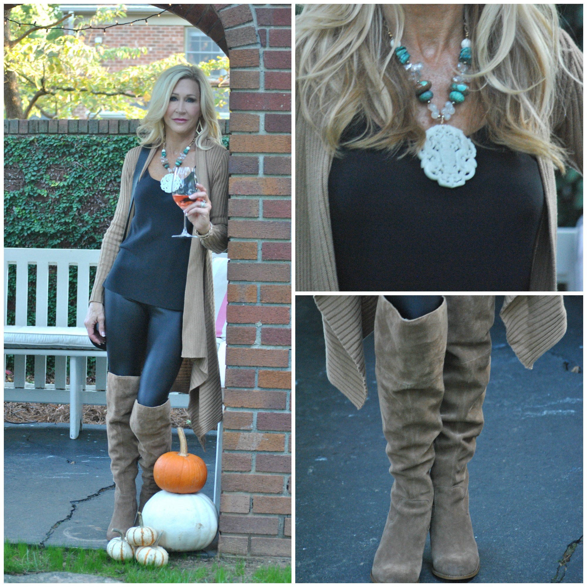 Leggings, tall boots and statement necklace