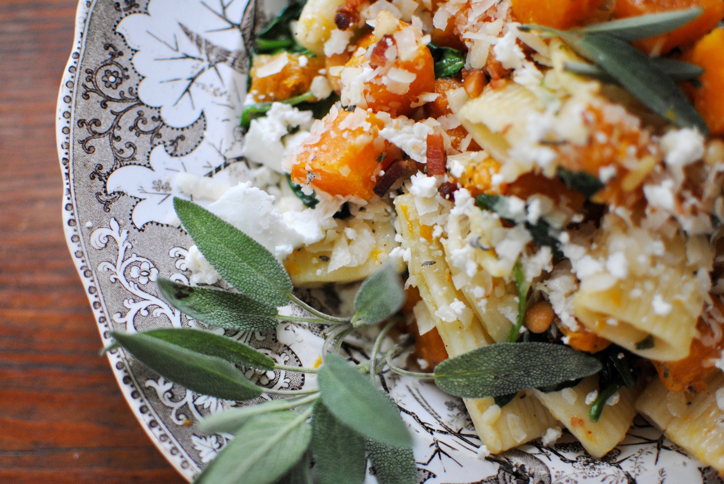 Butternut Squash & Spinach Pasta with Goat Cheese