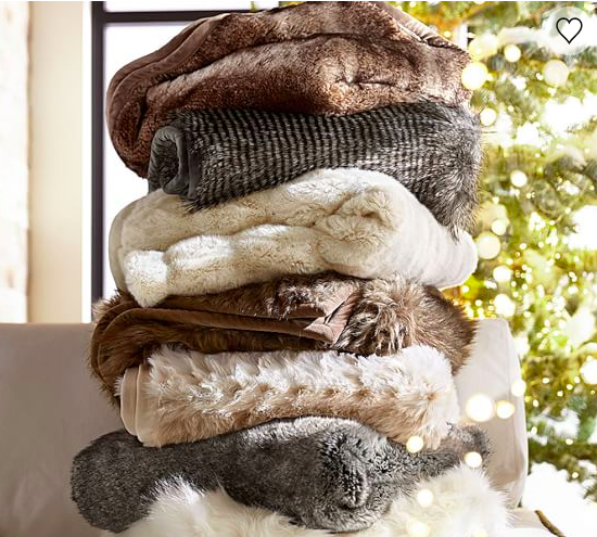 Pottery Barn Faux Fur Throw - 199.00