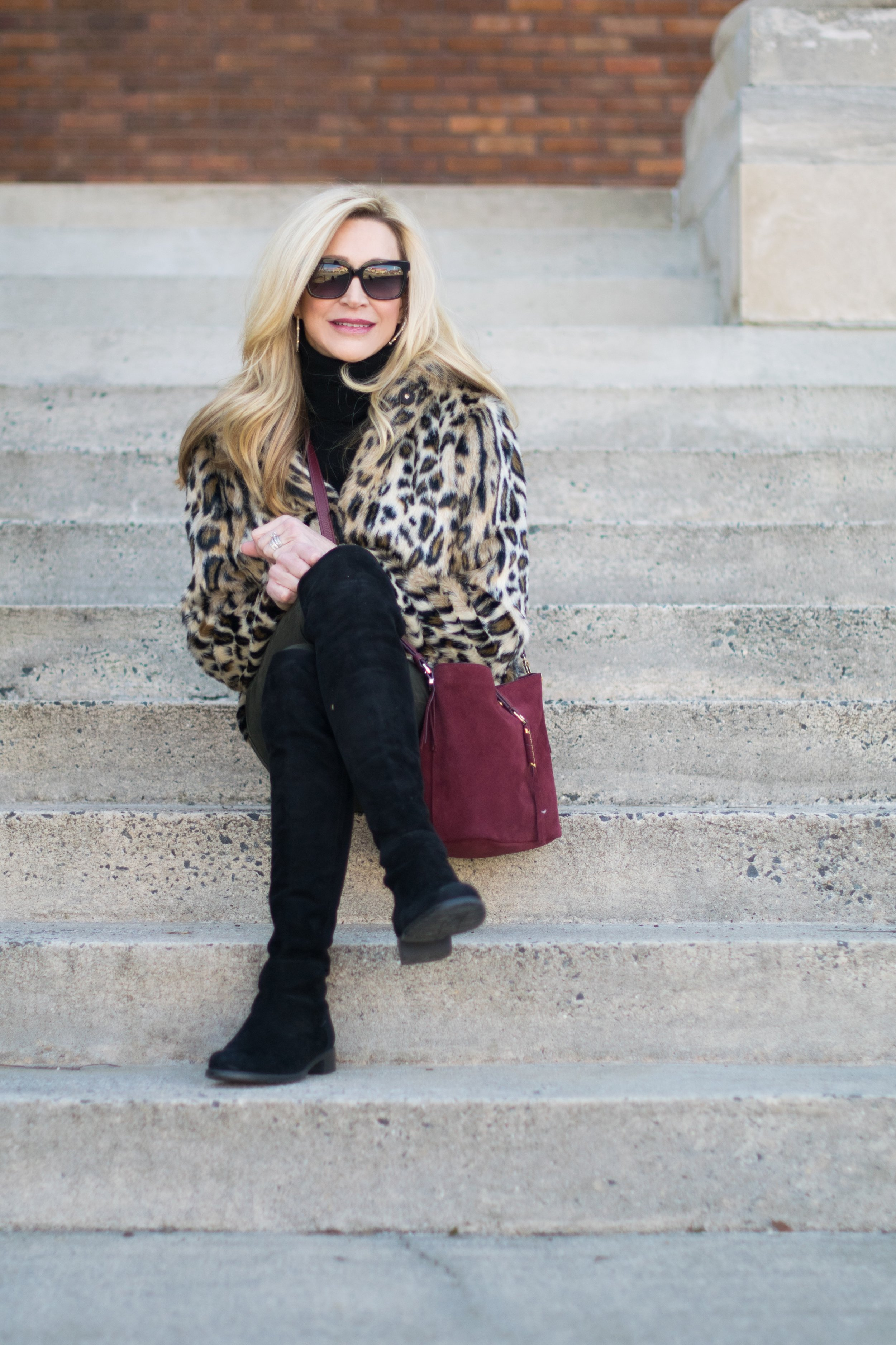 Ann Taylor Leopard Coat with Stella & Dot Bag and Stuart Weitzman Over-the-Knee Boots