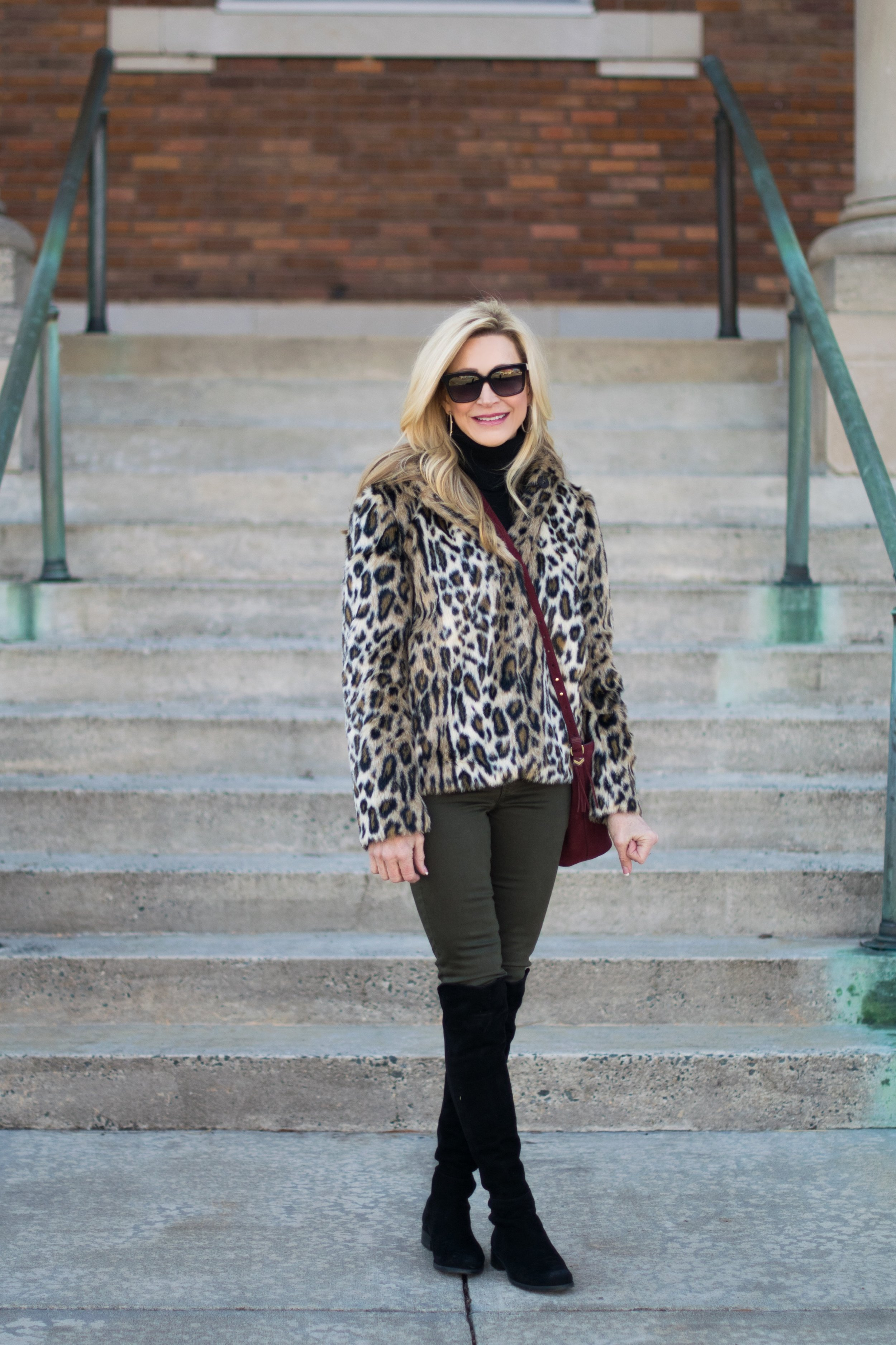 Ann Taylor Coat with Stella & Dot Bag and Stuart Weitzman Over-the-Knee Boots