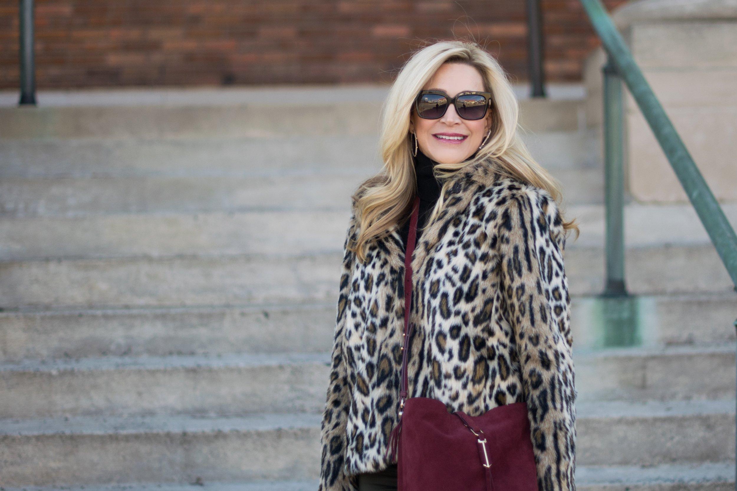 Ann Taylor Leopard Jacket and Stella & Dot Bag