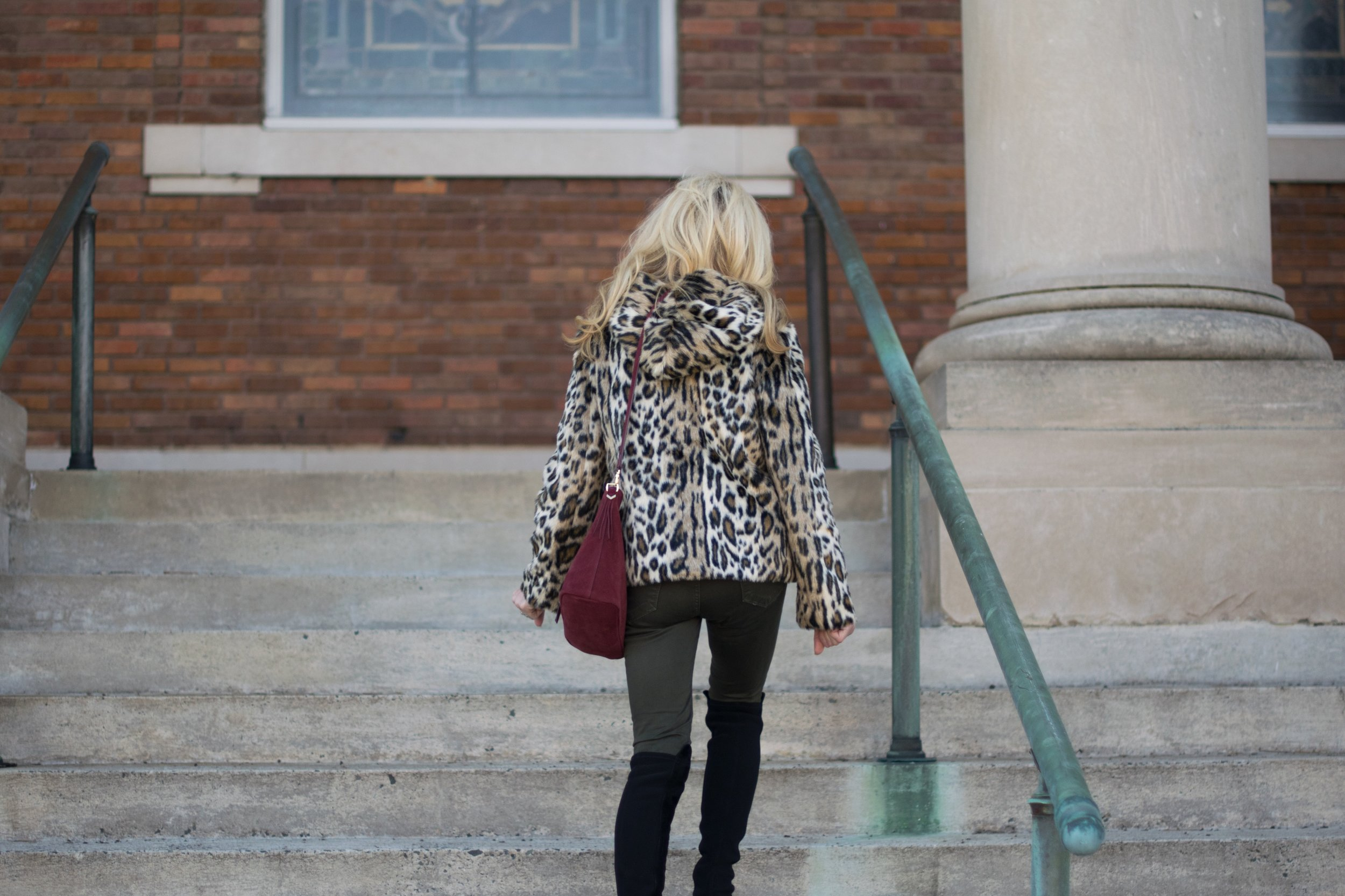 Ann Taylor Leopard Jacket with Stella & Dot Bag and Stuart Weitzman Over-the-Knee Boots