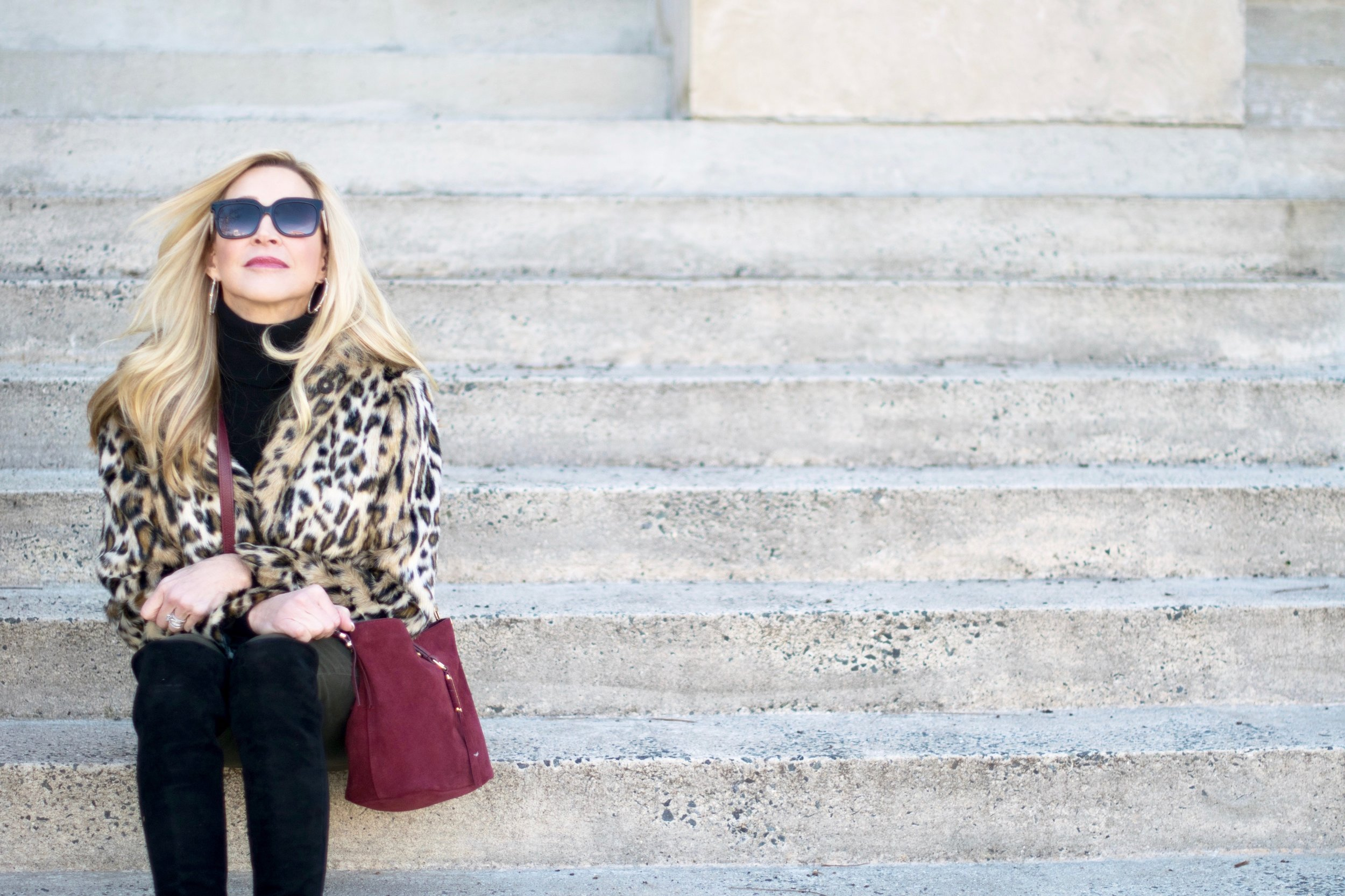 Ann Taylor Jacket, Stella & Dot Bag with Stuart Weitzman Over-the-Knee Boots