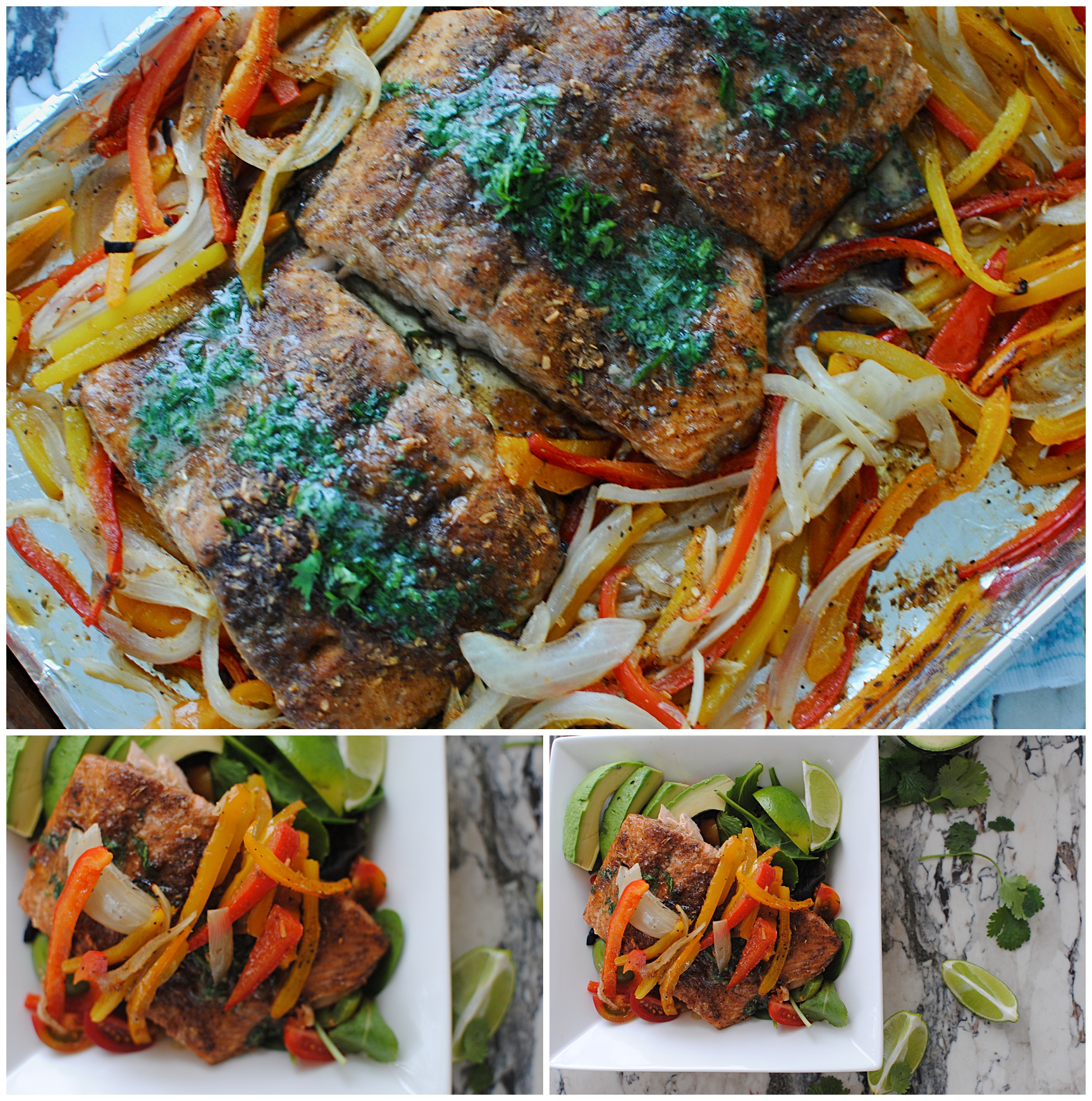 Sheet Pan Salmon with Peppers