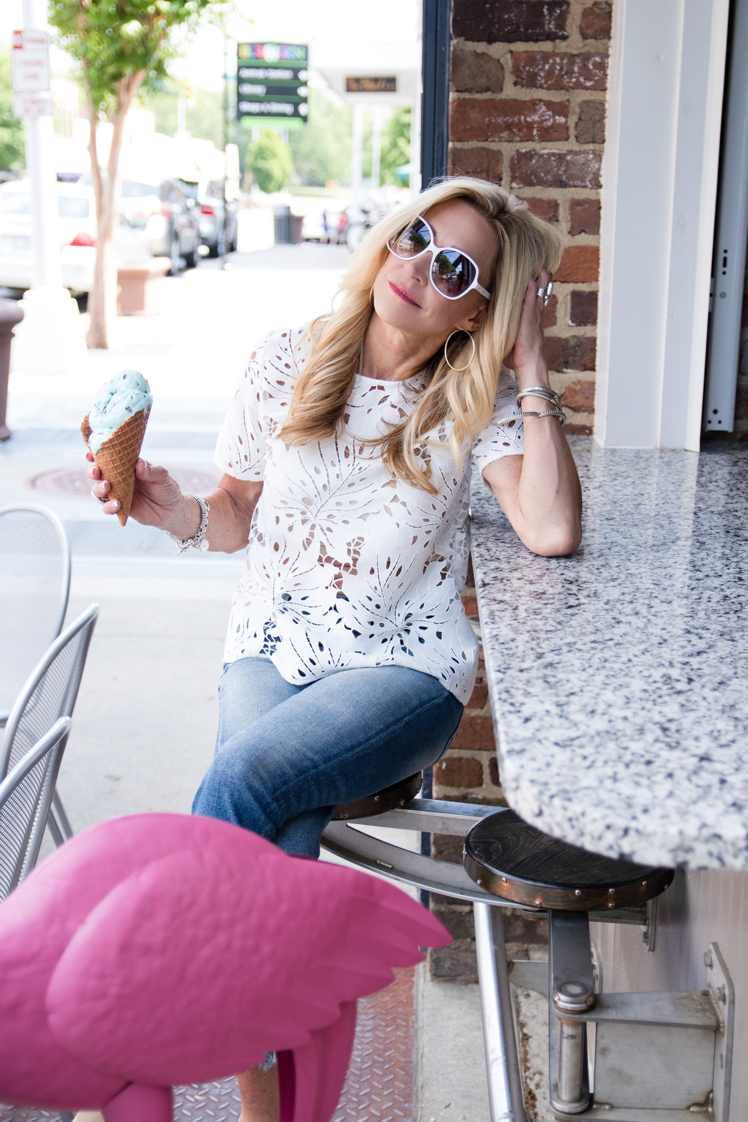 White cut work lace blouse and Target sunglasses