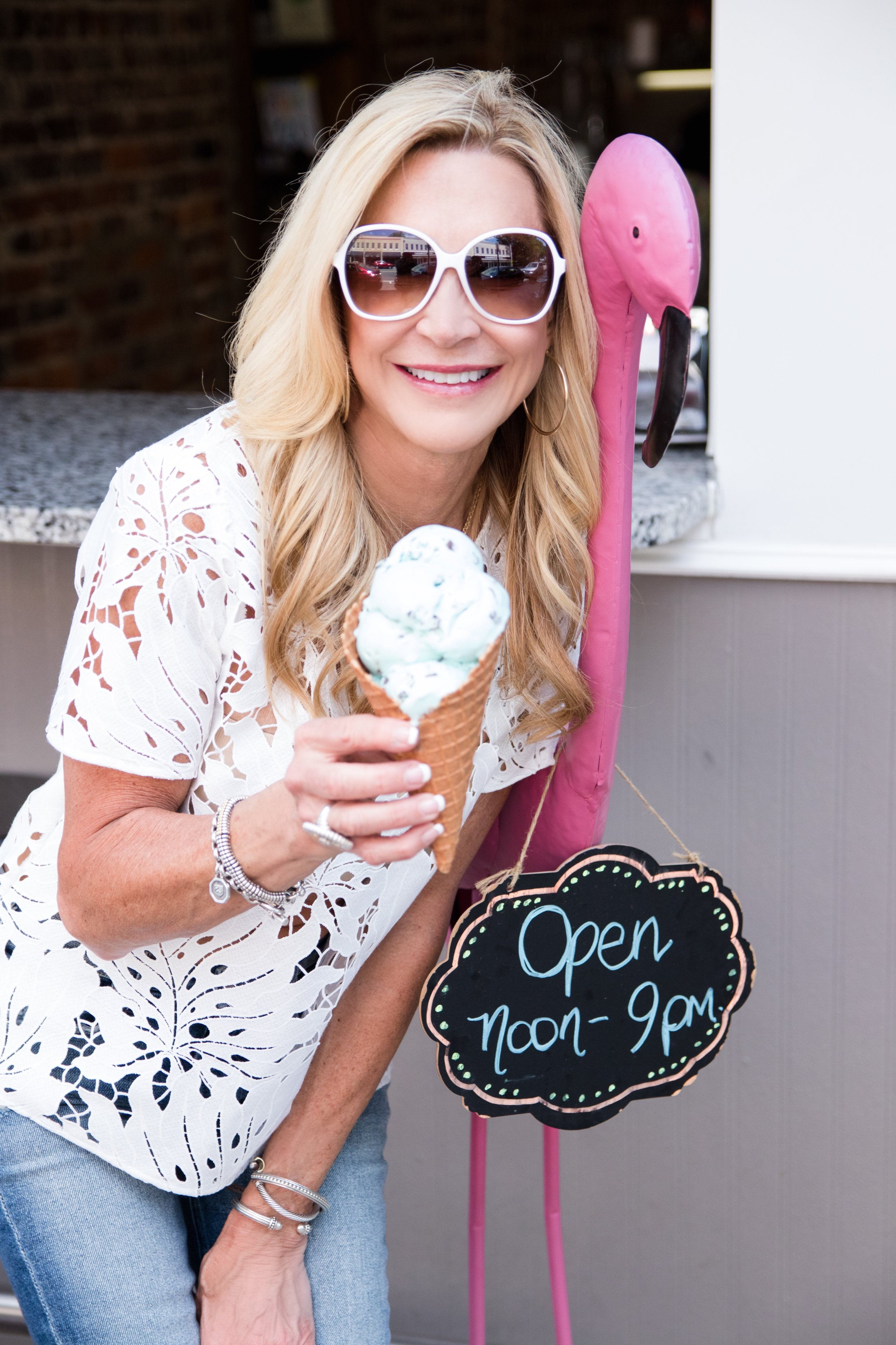 White cutwork lace top with Target sunglasses