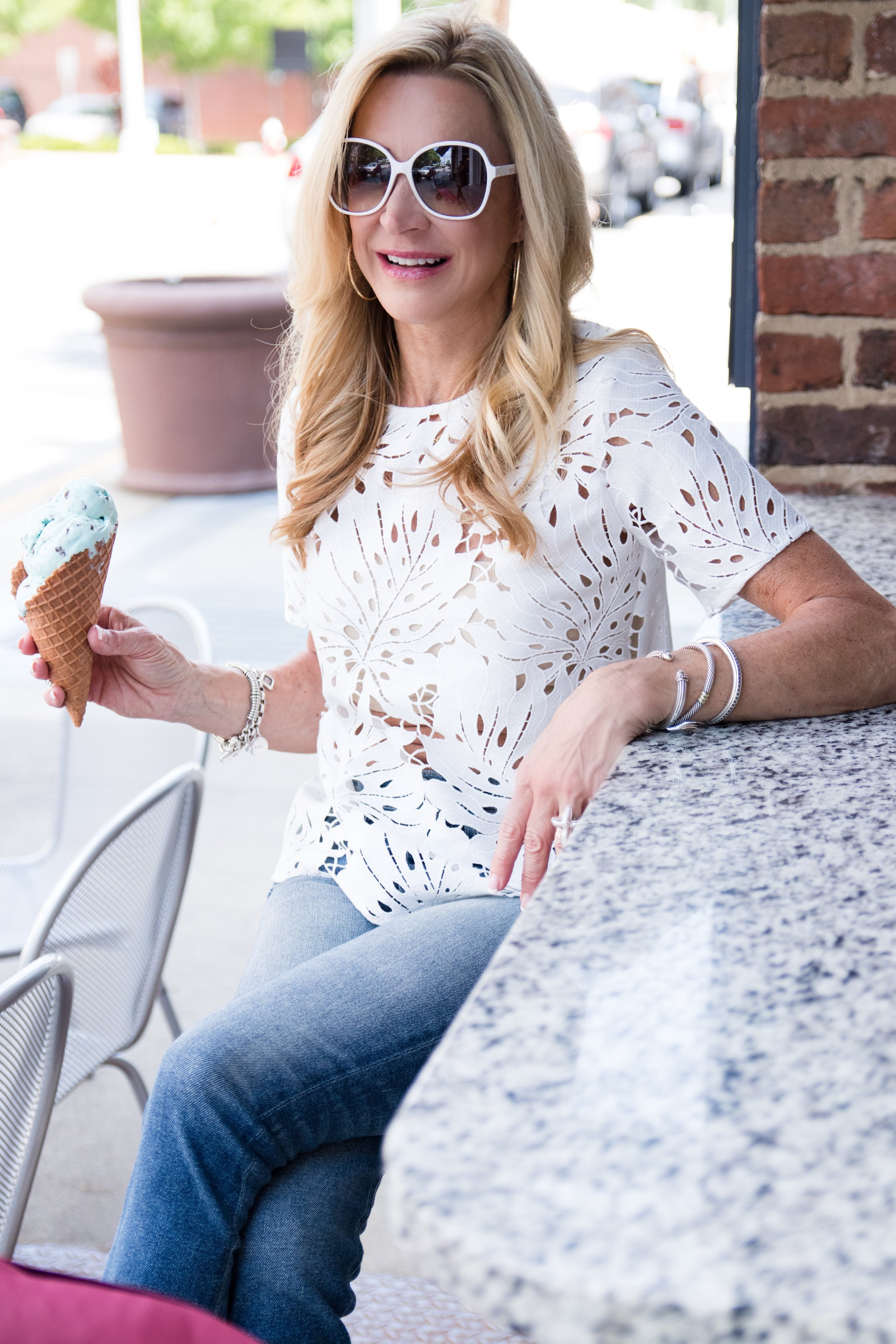 White lace cutwork top with Target sunglasses