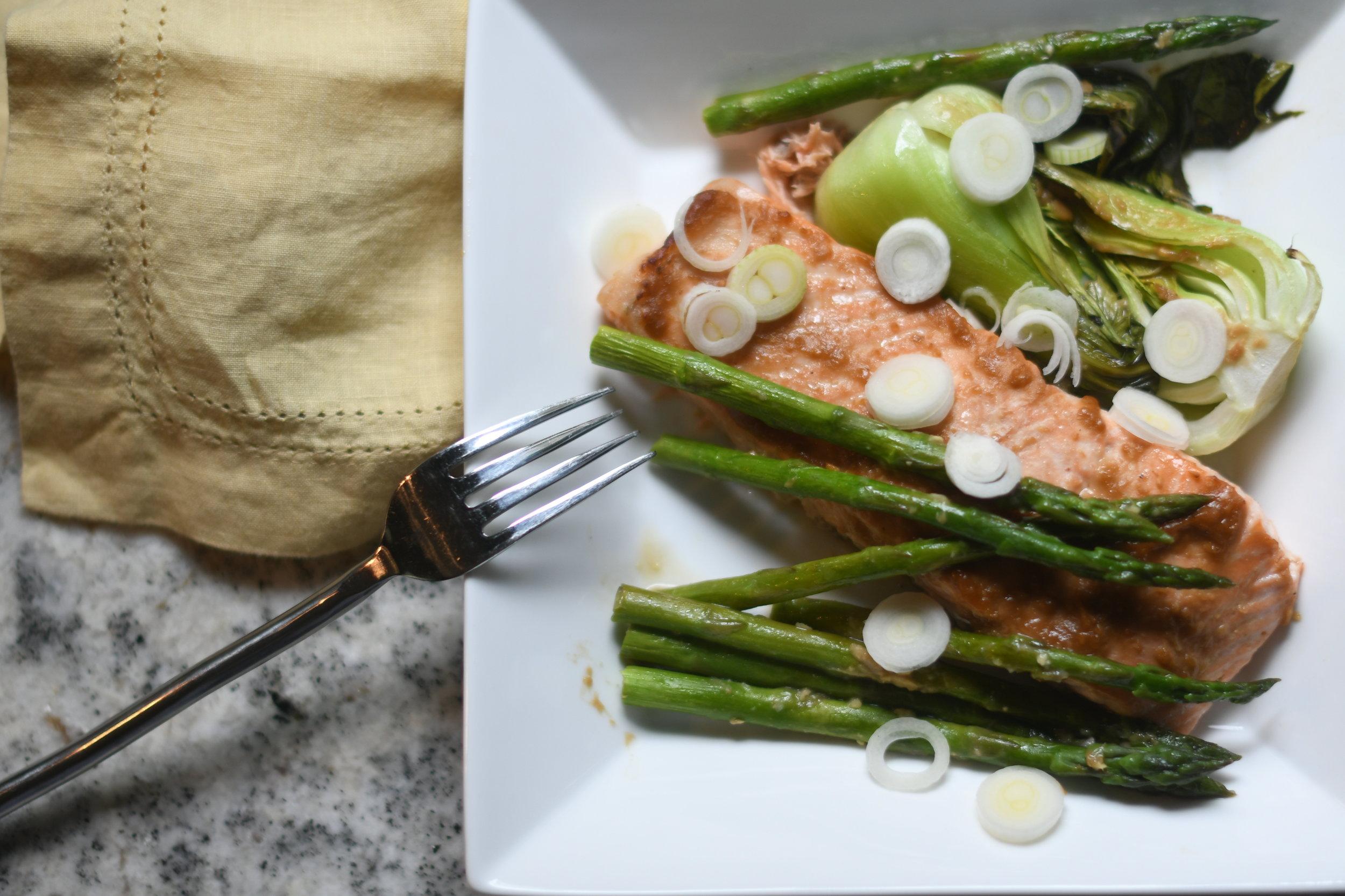 Miso Glazed Salmon with Bok Choy and Asparagus