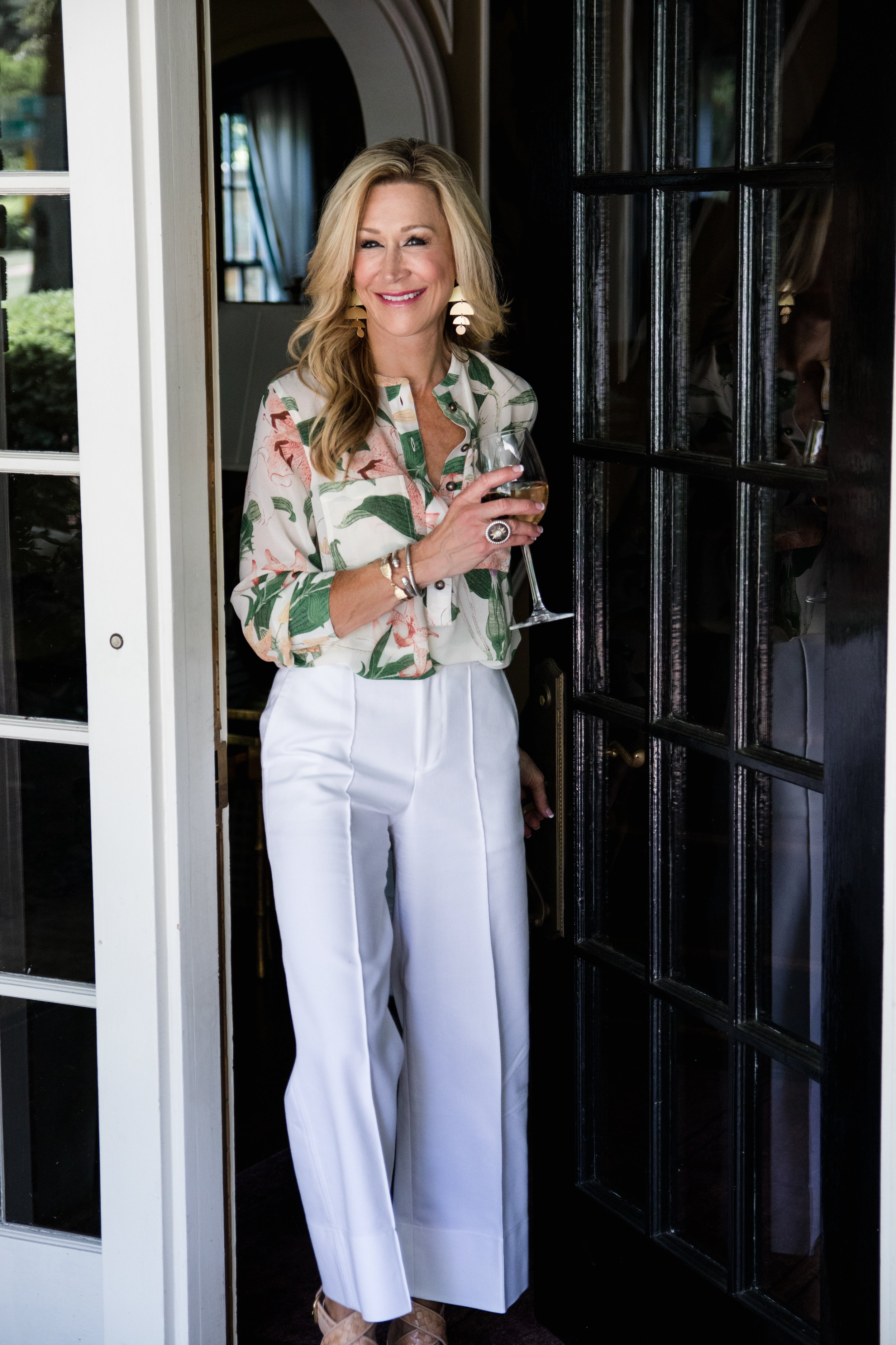 Summer White Pants with a Floral Blouse