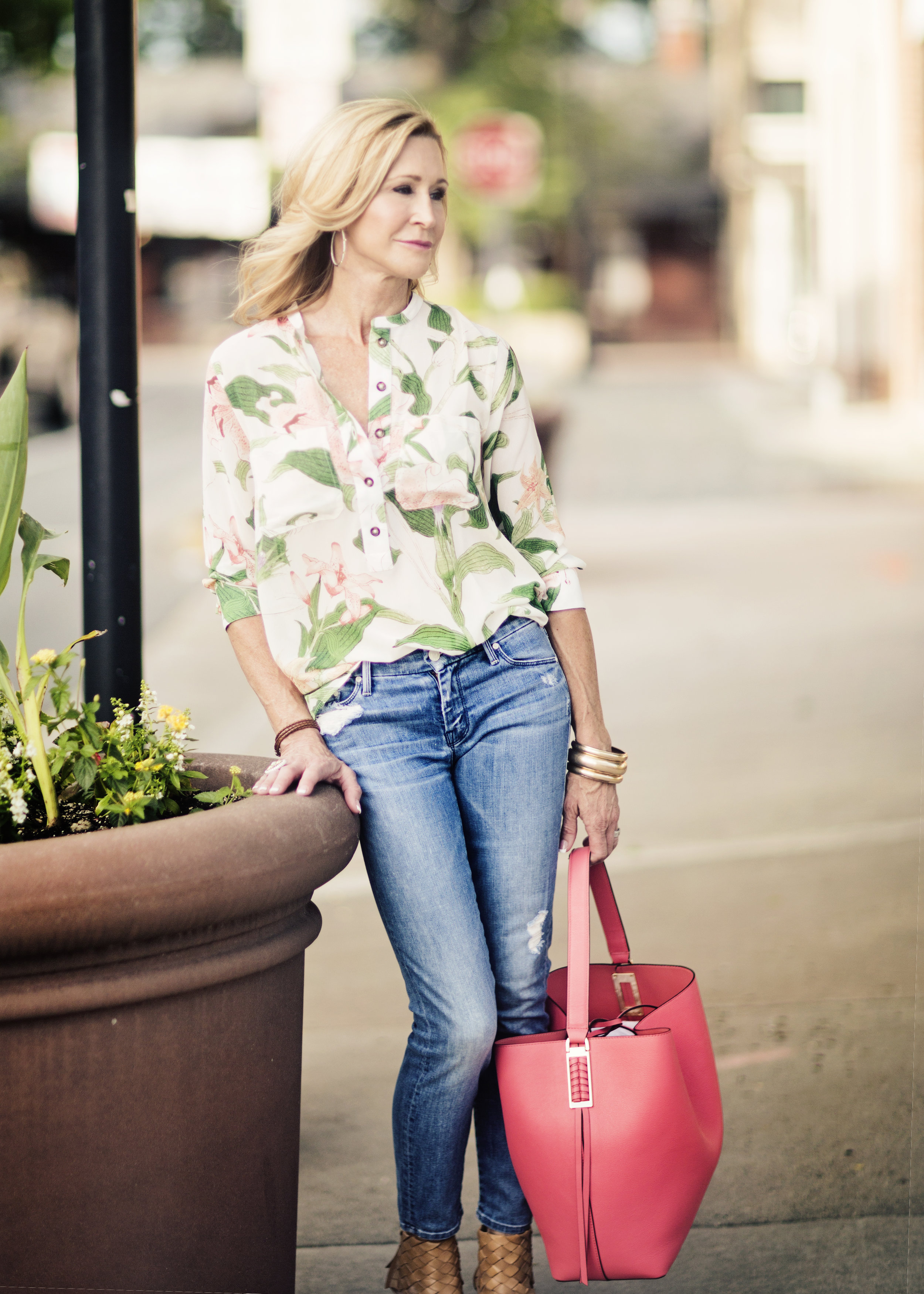 Floral Blouse styled with jeans