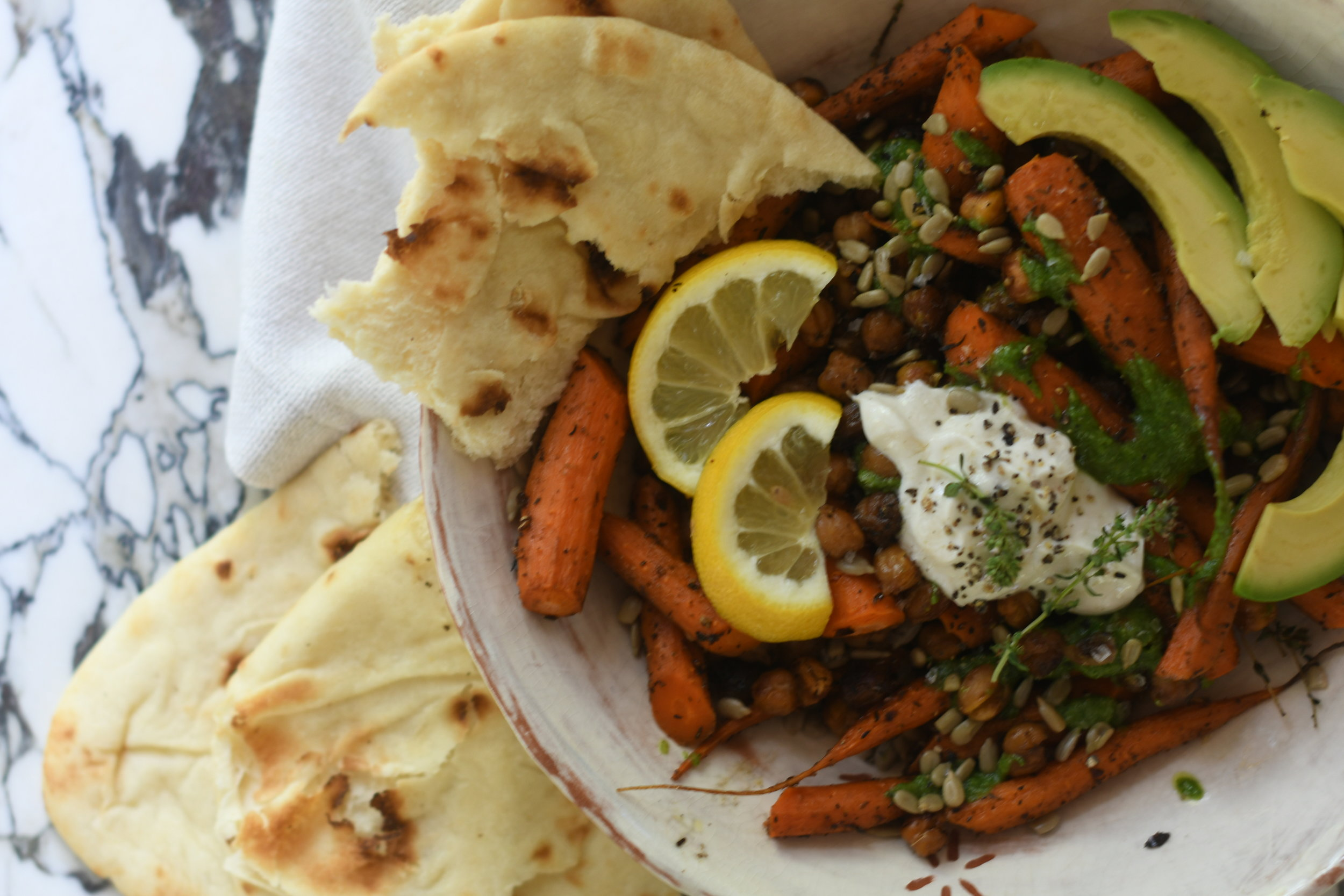 Roasted Carrot Salad with Chickpeas and Avocado