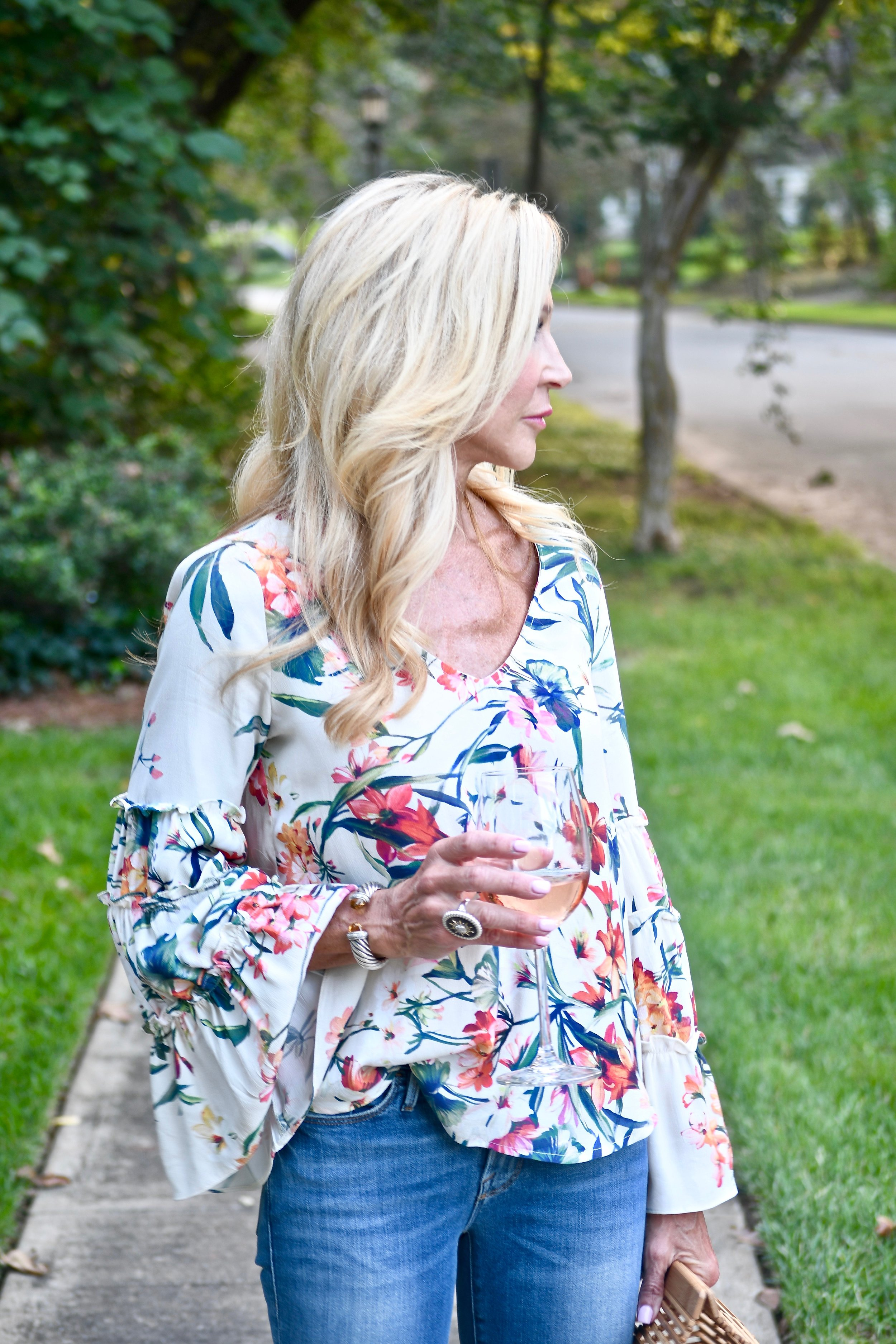 Bell Sleeve Floral top with jeans