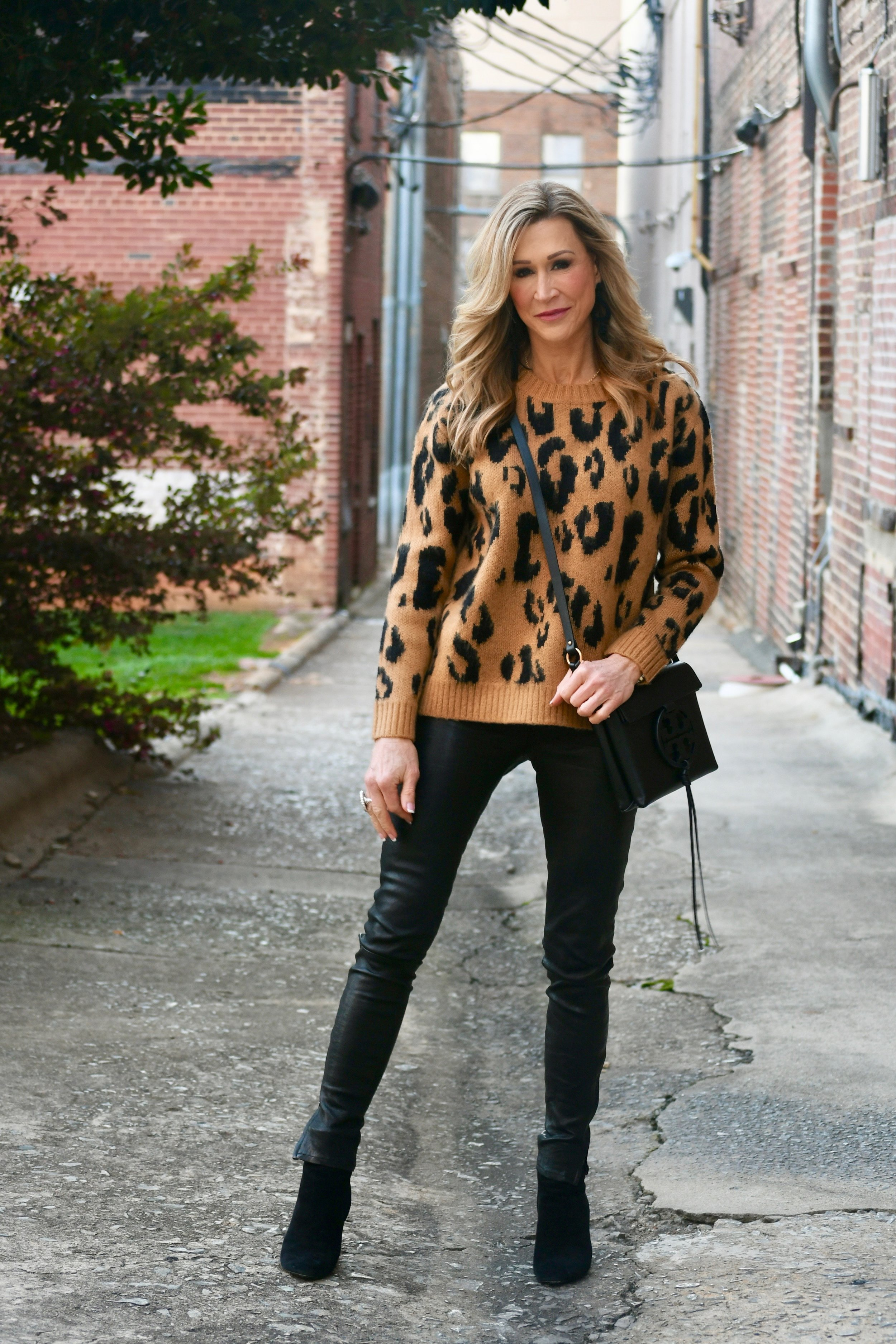 Leopard sweater with leather pants