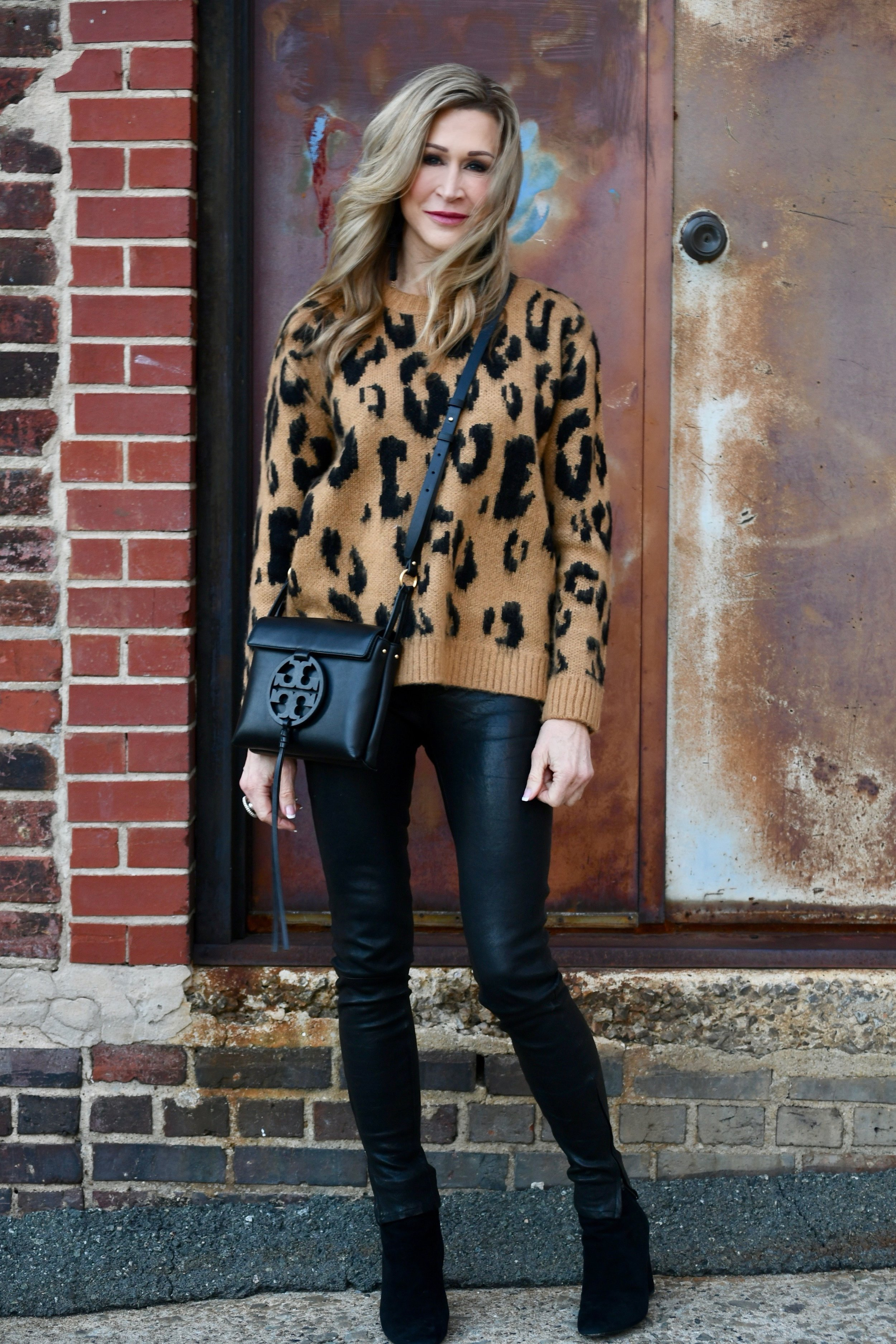 Leopard sweater with leather pants - Crazy Blonde LIfe