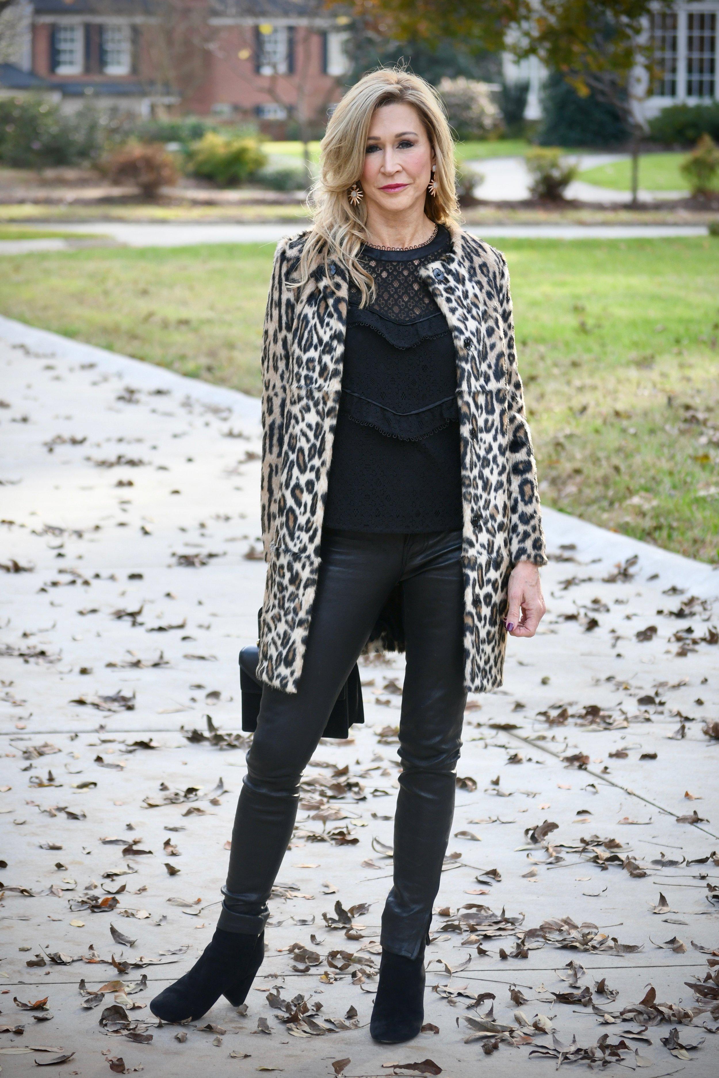 Leopard Coat & Leather Pants - Crazy Blonde Style