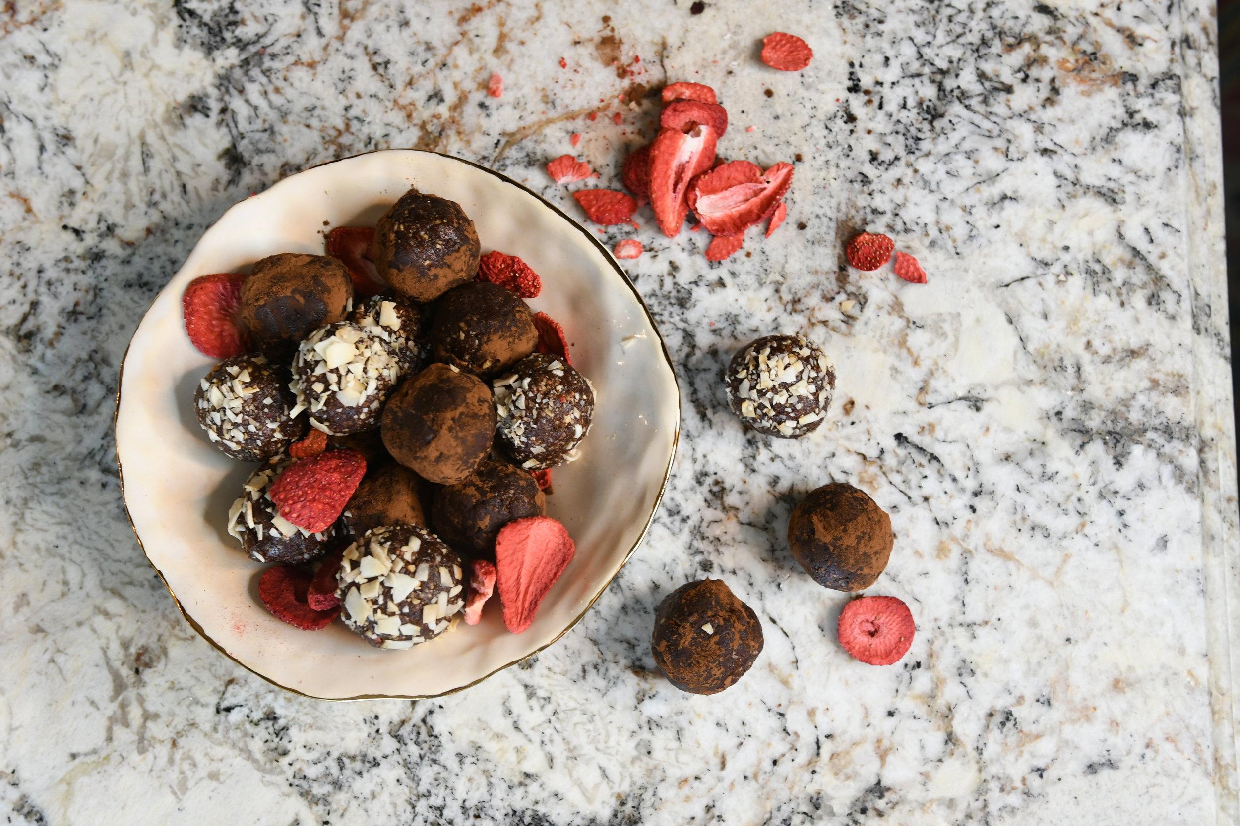 Raspberry Cocoa Energy Balls - Crazy Blonde Life