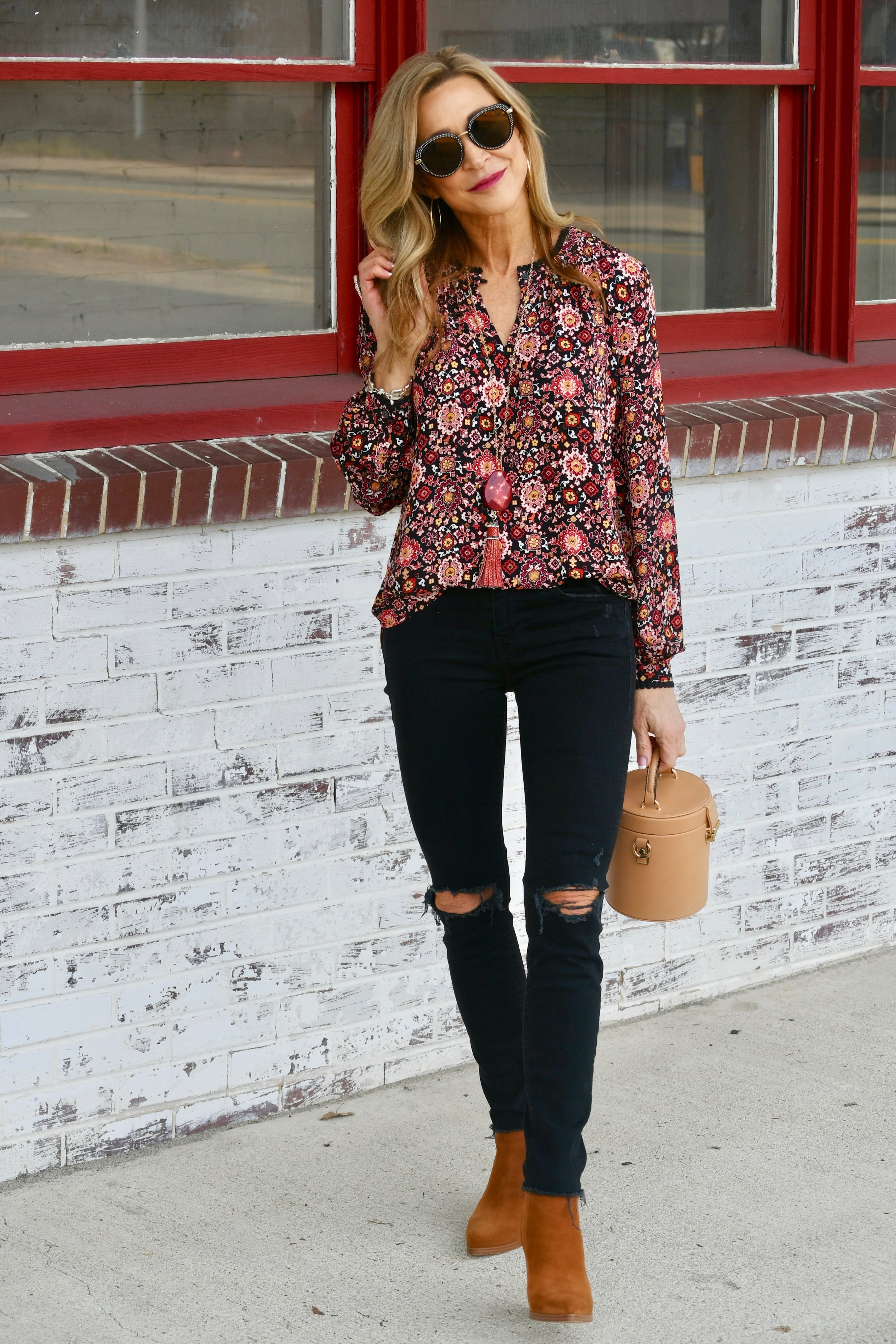 Loft blouse, Mother Denim jeans, Zara bag, Marc Fisher booties