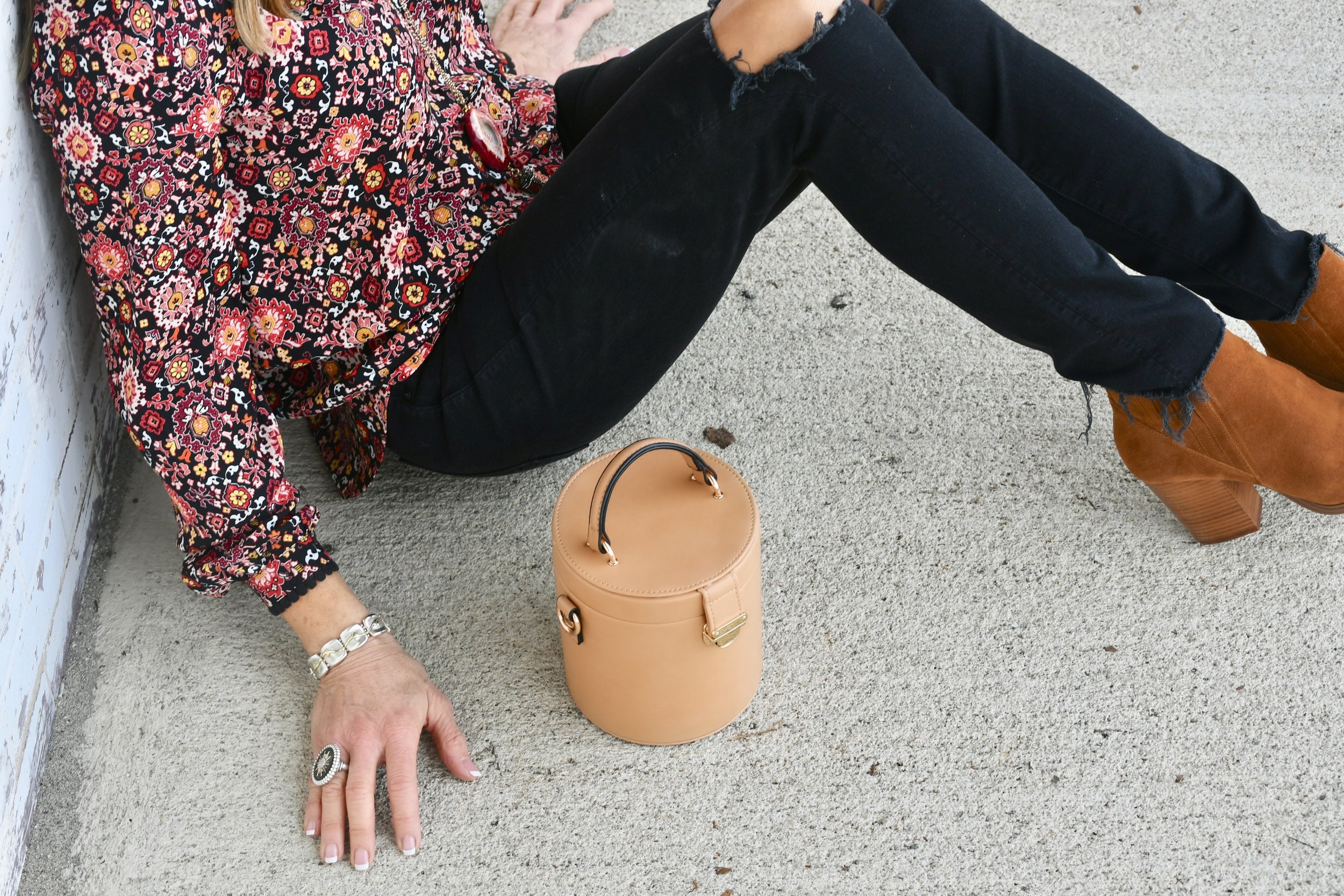 Mother Denim jeans, Zara Bag, Loft Blouse, Marc Fisher booties