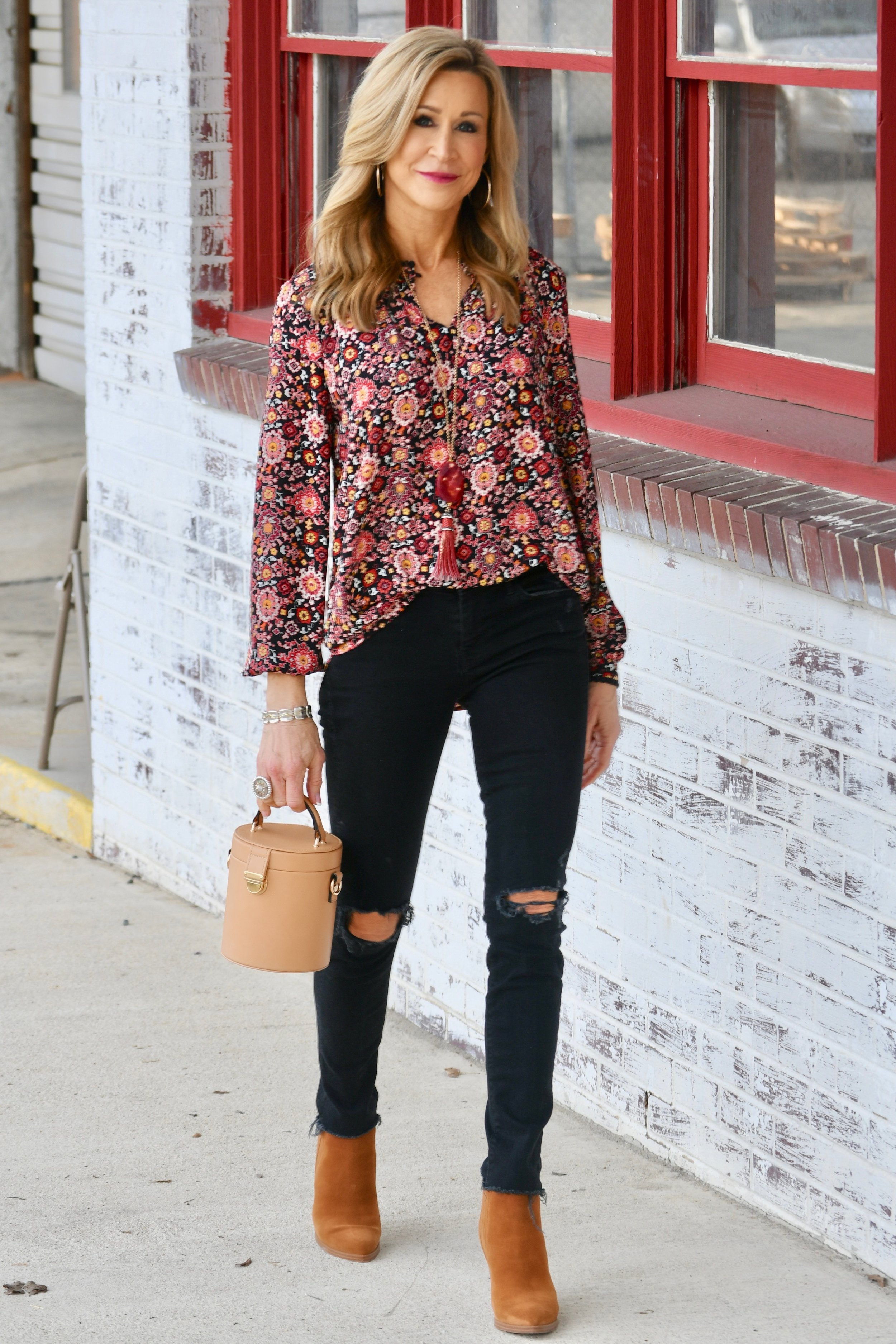 Loft blouse, Mother Denim jeans, Marc Fisher booties, Zara bag