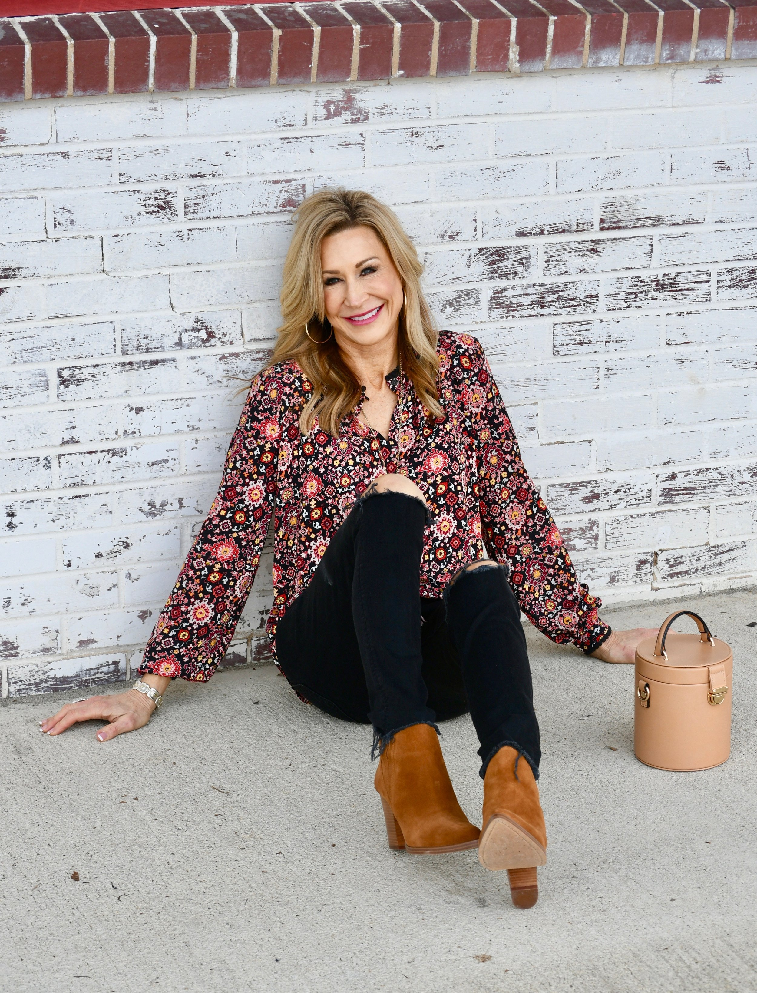 Loft Small Print top with Marc Fisher booties - Crazy Blonde Life