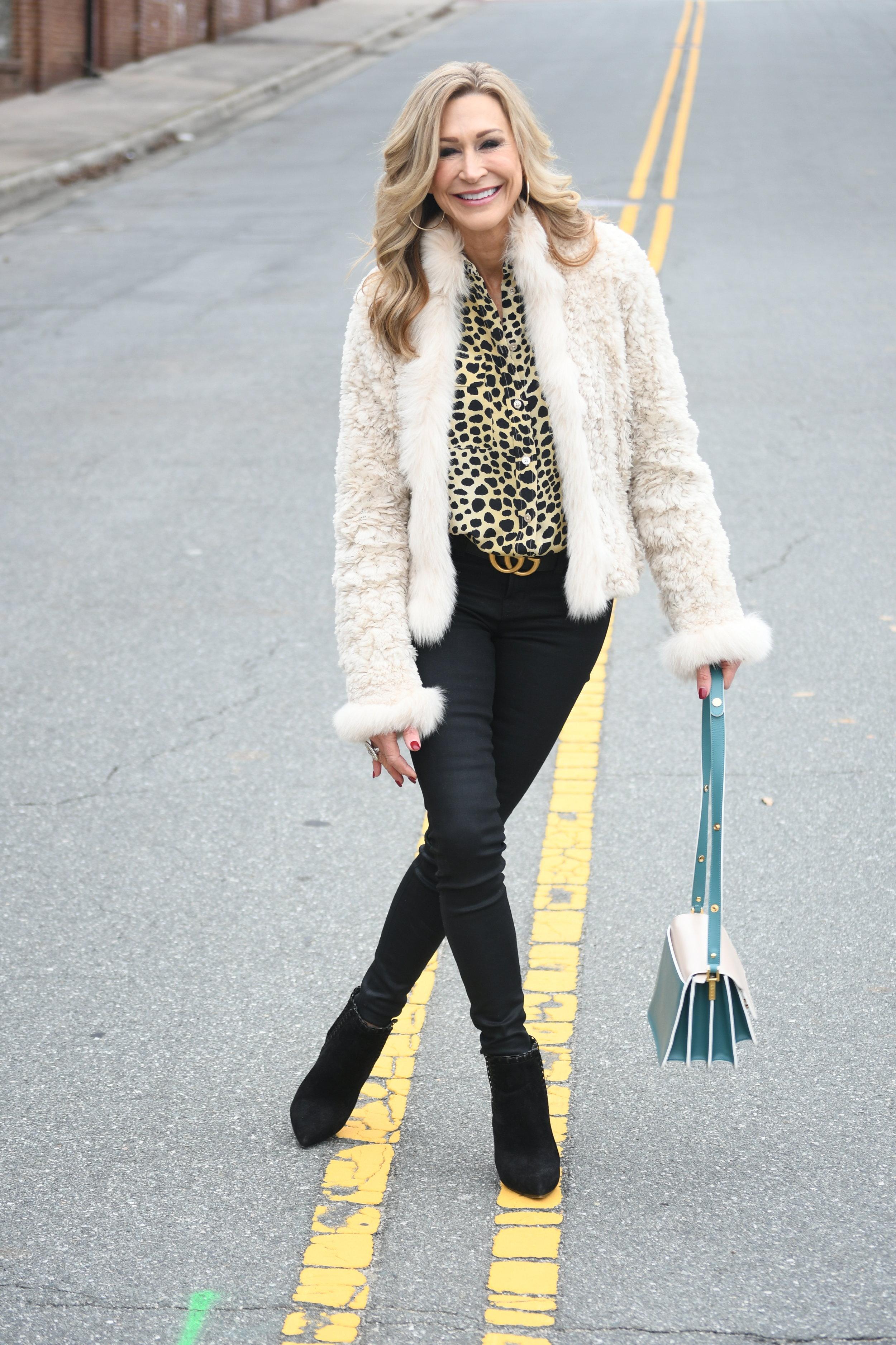 Fur Jacket with Leopard Print Blouse - Crazy Blonde Life